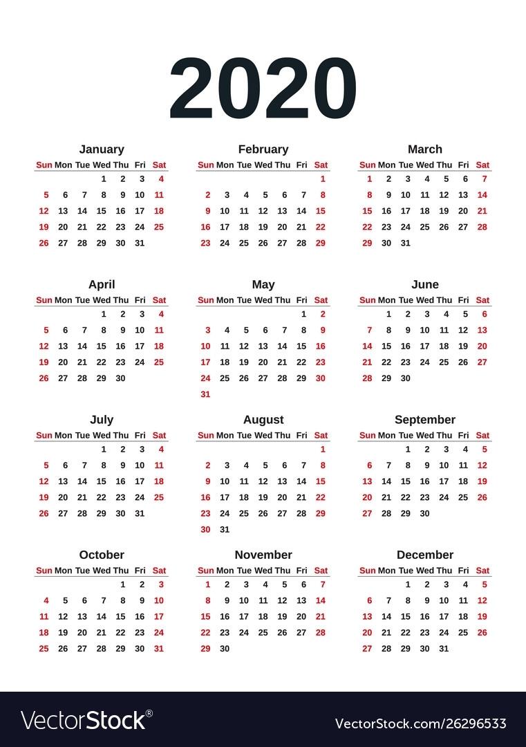 2020 Calendar Year Template Planner for Monday To Sunday 2020 Calendar