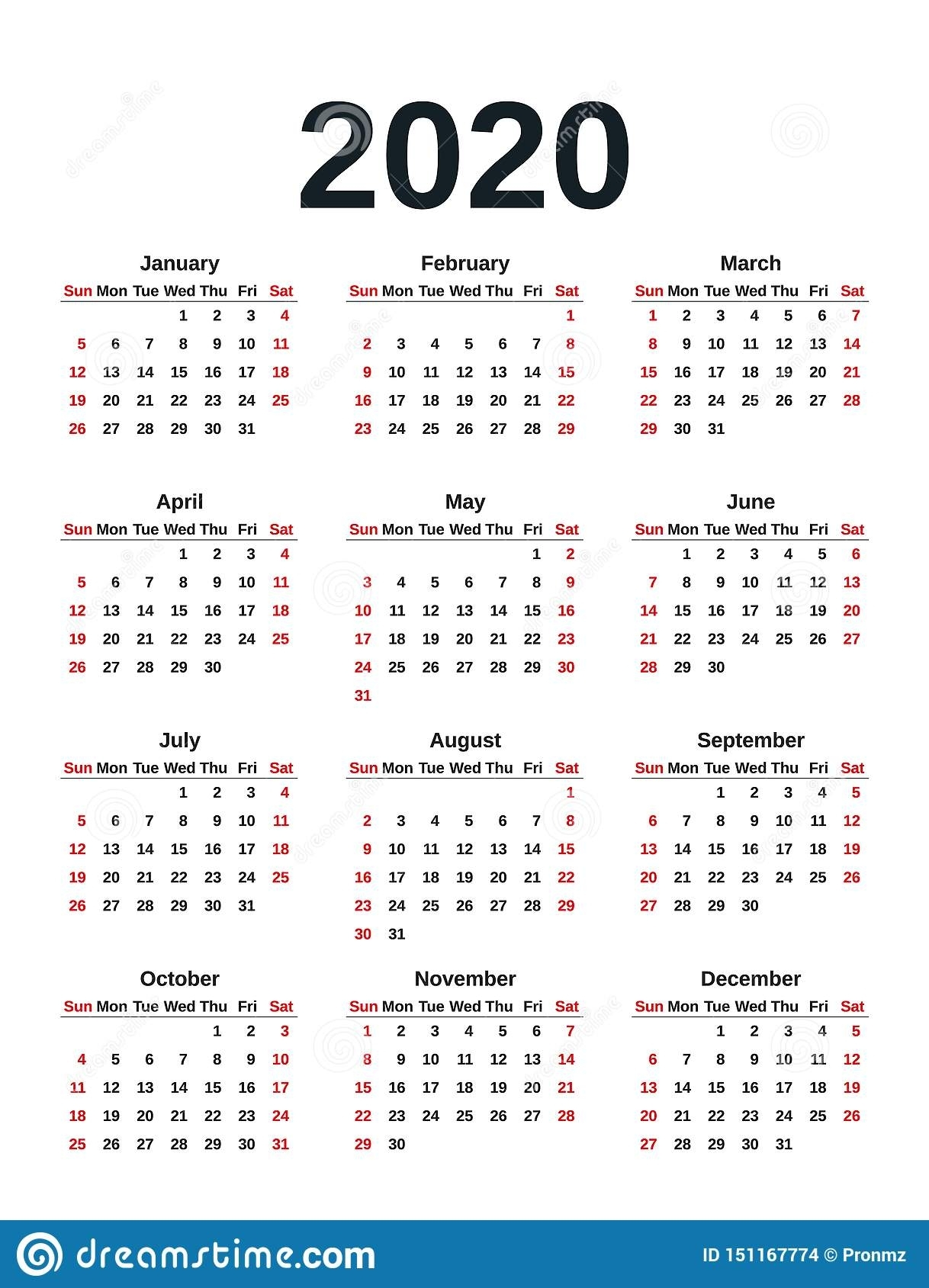 2020 Calendar Year. Vector Illustration. Template Planner in Yearly Monday To Sunday Calendar 2020 With Week Numbers