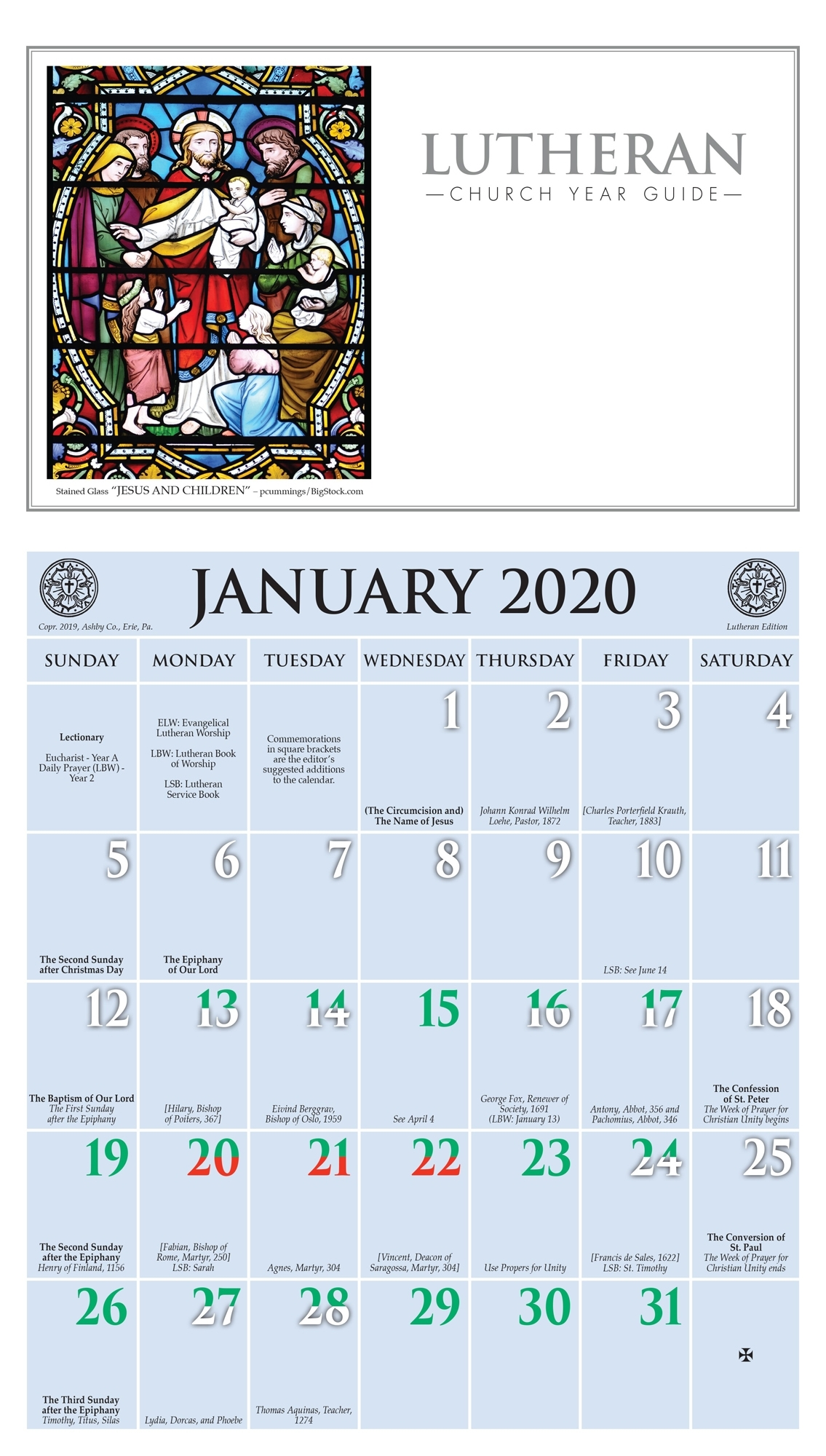 2020 Church Year Calendar throughout 2020 Liturgical Calendar Year A