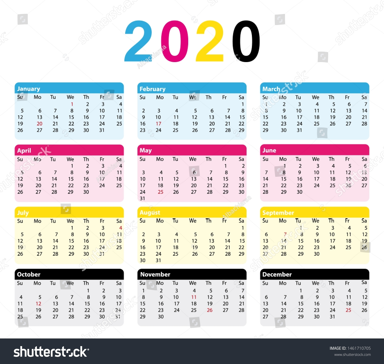2020 Cmyk Calendar 12 Months Print Stock Illustration 1461710705 within Calendar 12-Com 2020 Monday Start