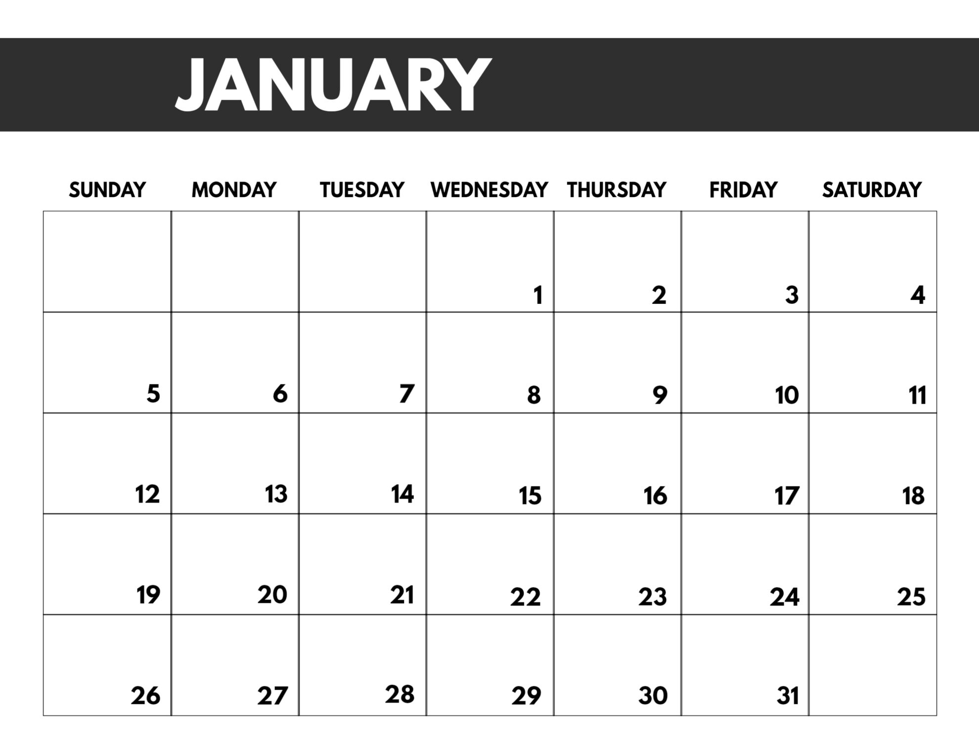 2020 Free Monthly Calendar Template - Paper Trail Design in 8.5 X 11 Printable Calendars