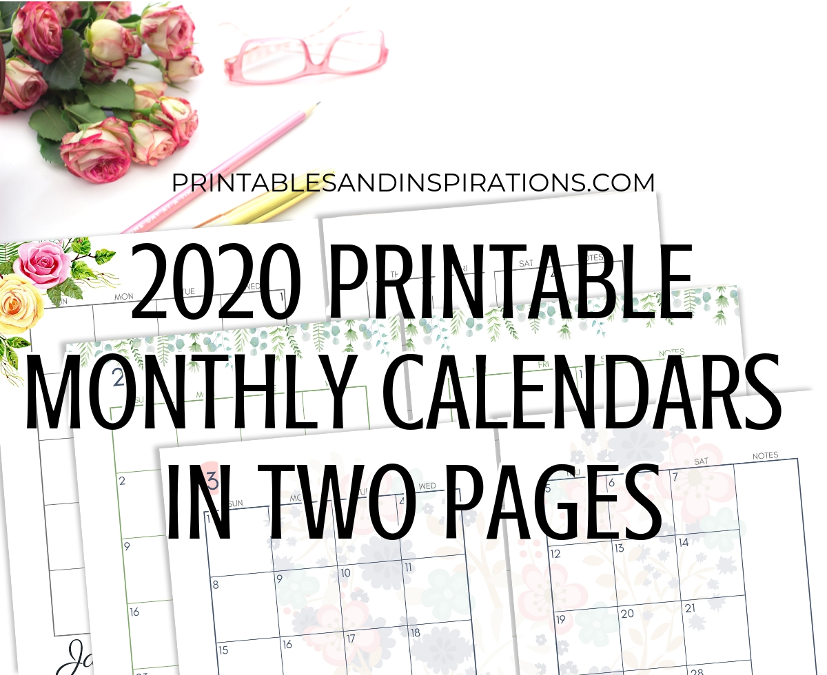 2020 Monthly Calendar Two Page Spread – Free Printable intended for Pocket Size Monthly Calendar Printable