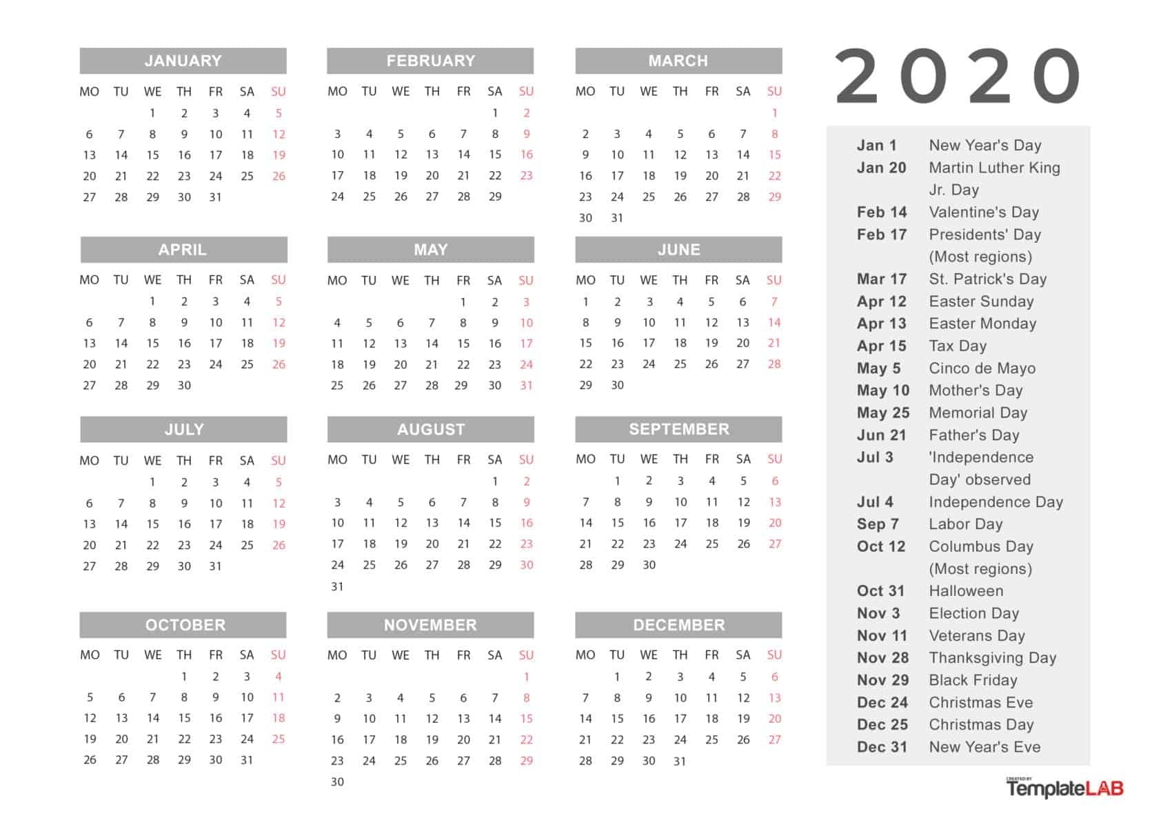 2020 Printable Calendars [Monthly, With Holidays, Yearly] ᐅ in Downloadable 2020 Year At A Glance 2020 Calendar