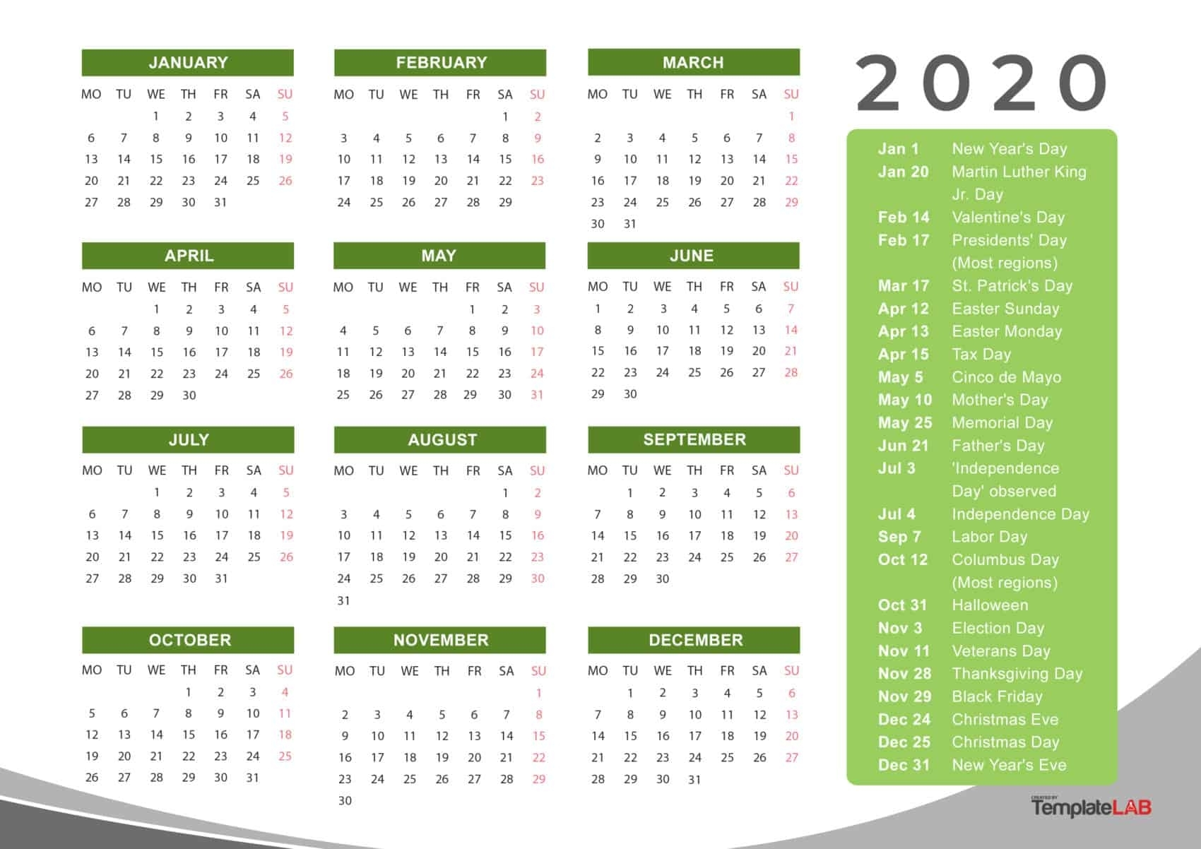 2020 Printable Calendars [Monthly, With Holidays, Yearly] ᐅ intended for Downloadable 2020 Year At A Glance 2020 Calendar