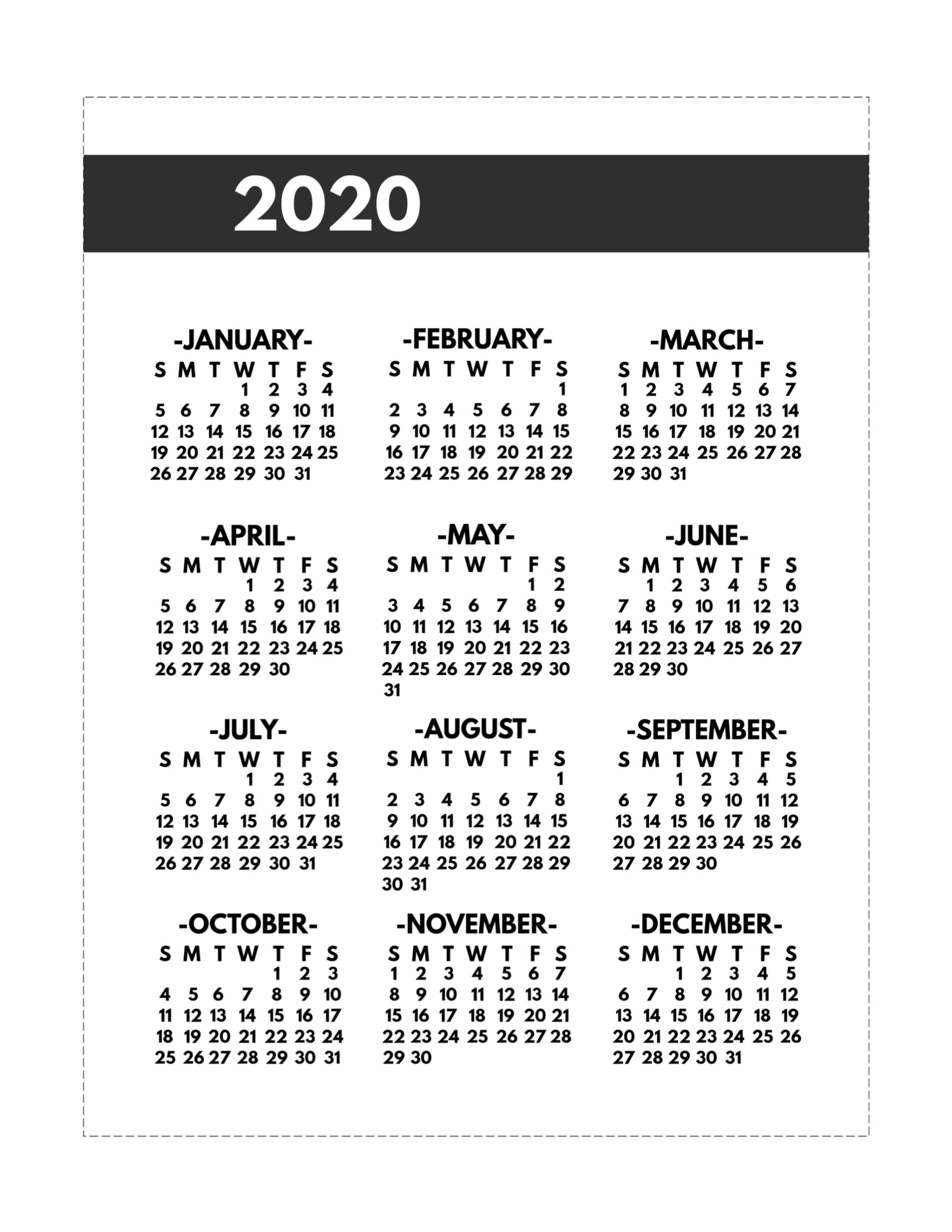 2020 Printable One Page Year At A Glance Calendar - Paper regarding Printable 2020 Calender At A Glance