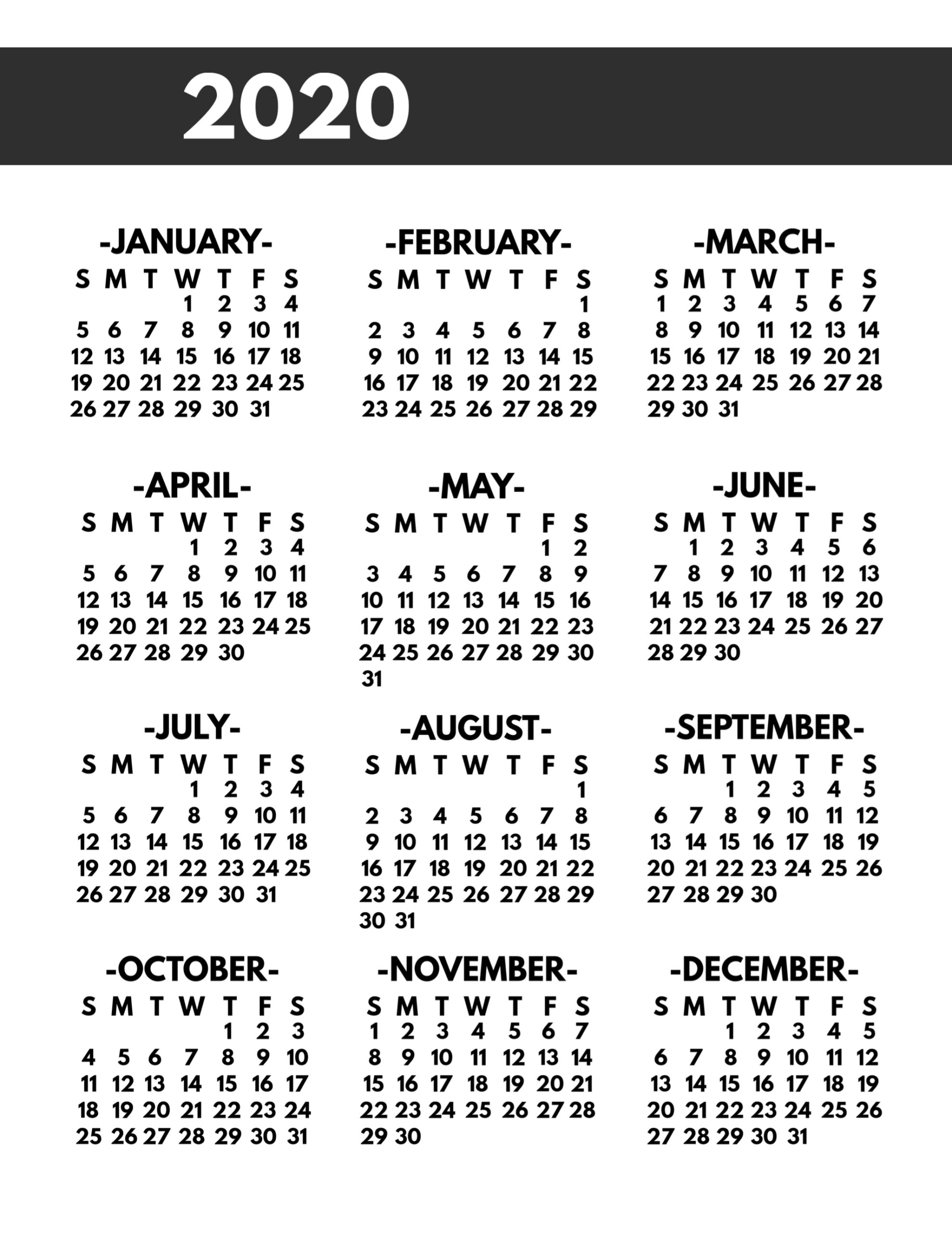 2020 Printable One Page Year At A Glance Calendar - Paper throughout 2020 Free Year At A Glance Printable