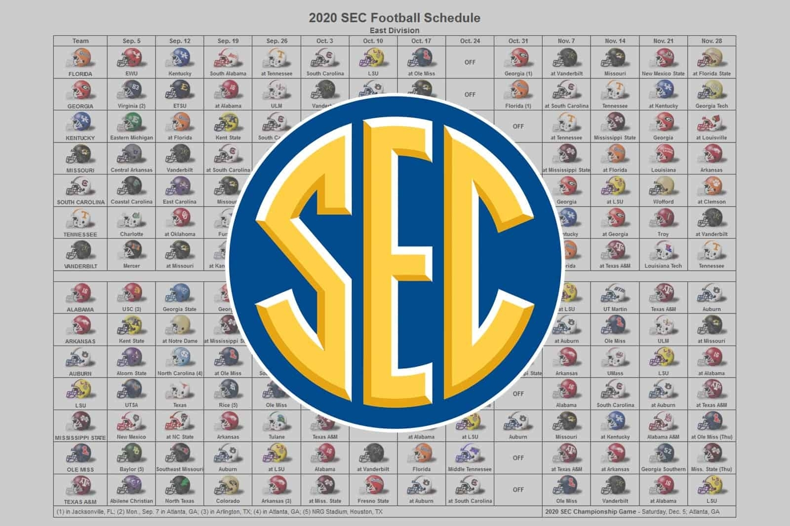 2020 Sec Football Helmet Schedule in Nfl 2019 2020 Printable Schedule