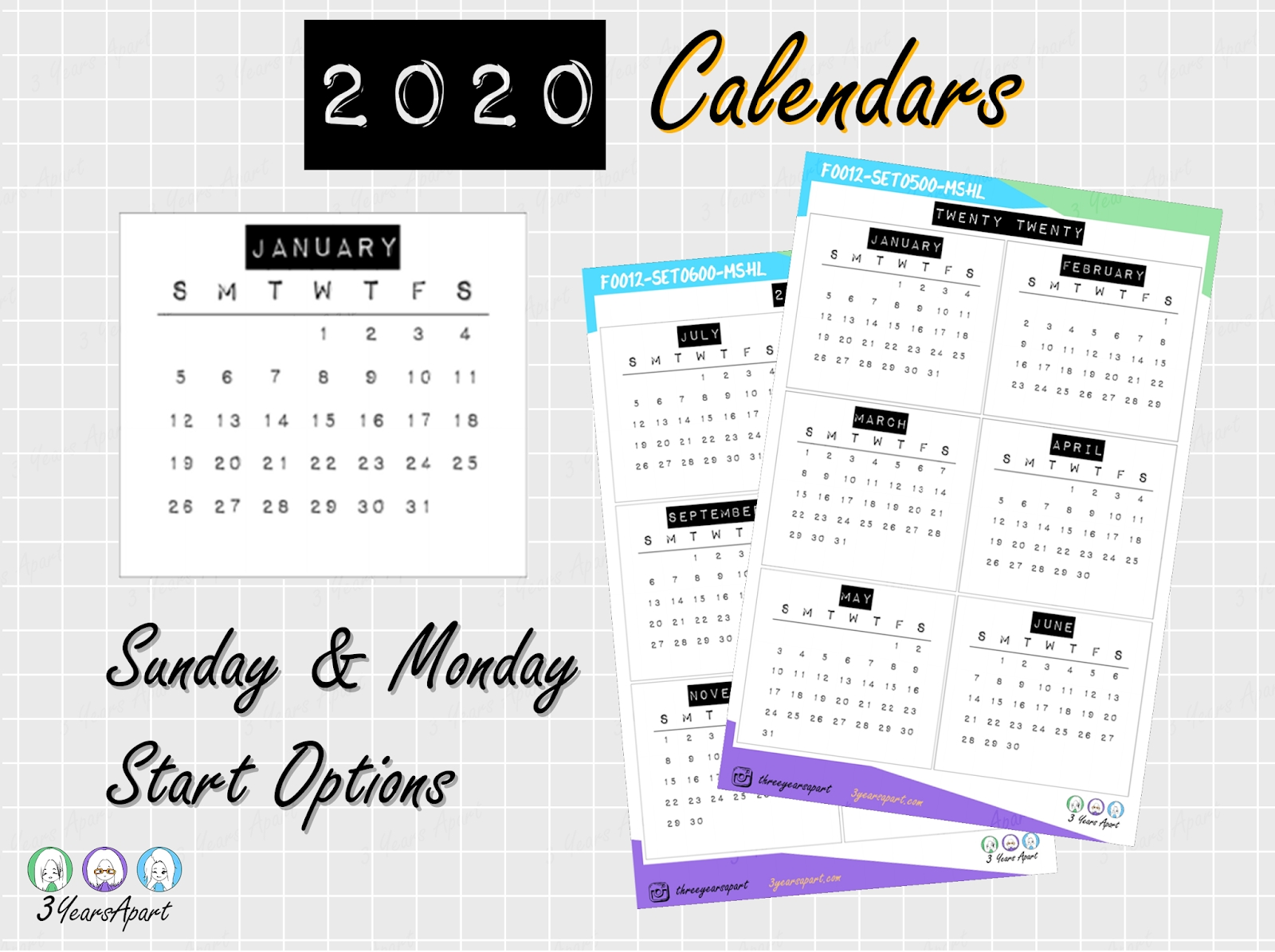 2020 Yearly Calendar Free Printable | Bullet Journal And with Year At A Glance 2020 Free Printable