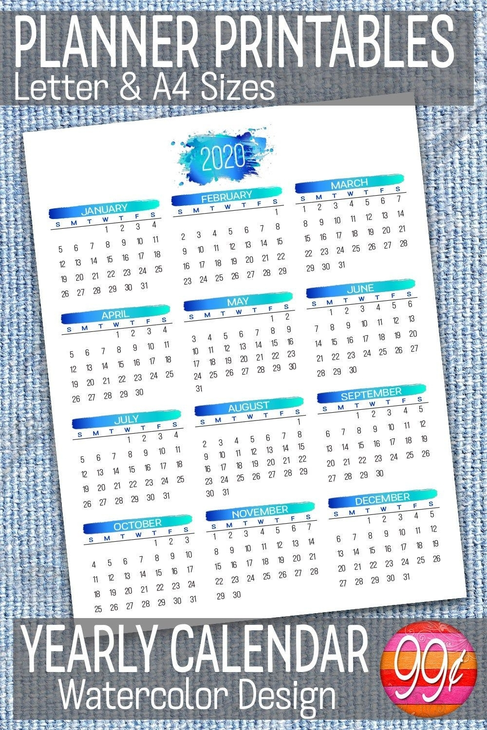2020 Yearly Calendar | Printable | 8.5 X 11 | A4 | Blue with 8.5 X 11 Printable 2020 Calendar At A Glance