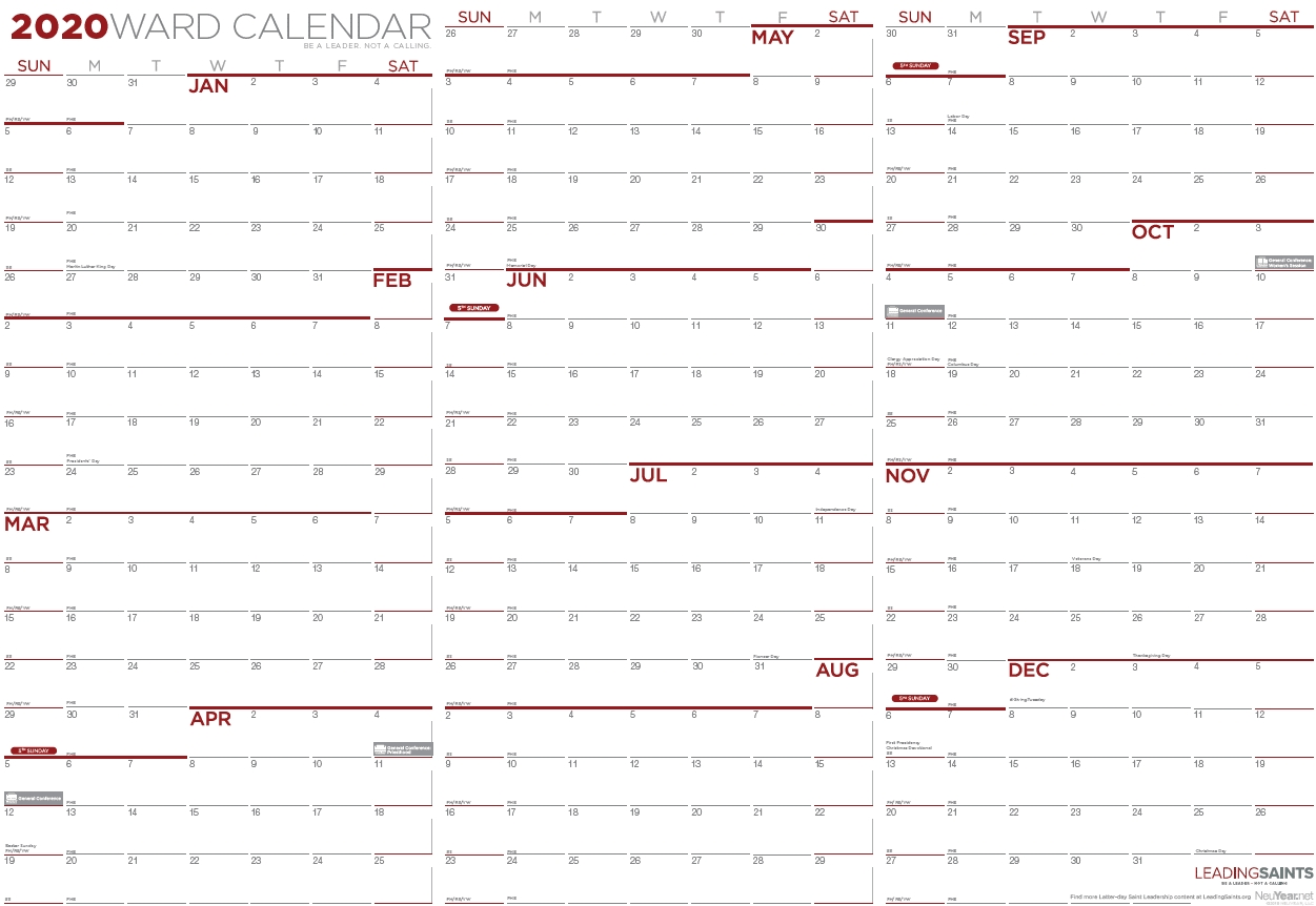 2020 Yearly Ward Calendar | Leading Saints pertaining to 2020 Year Calendar With Space To Write