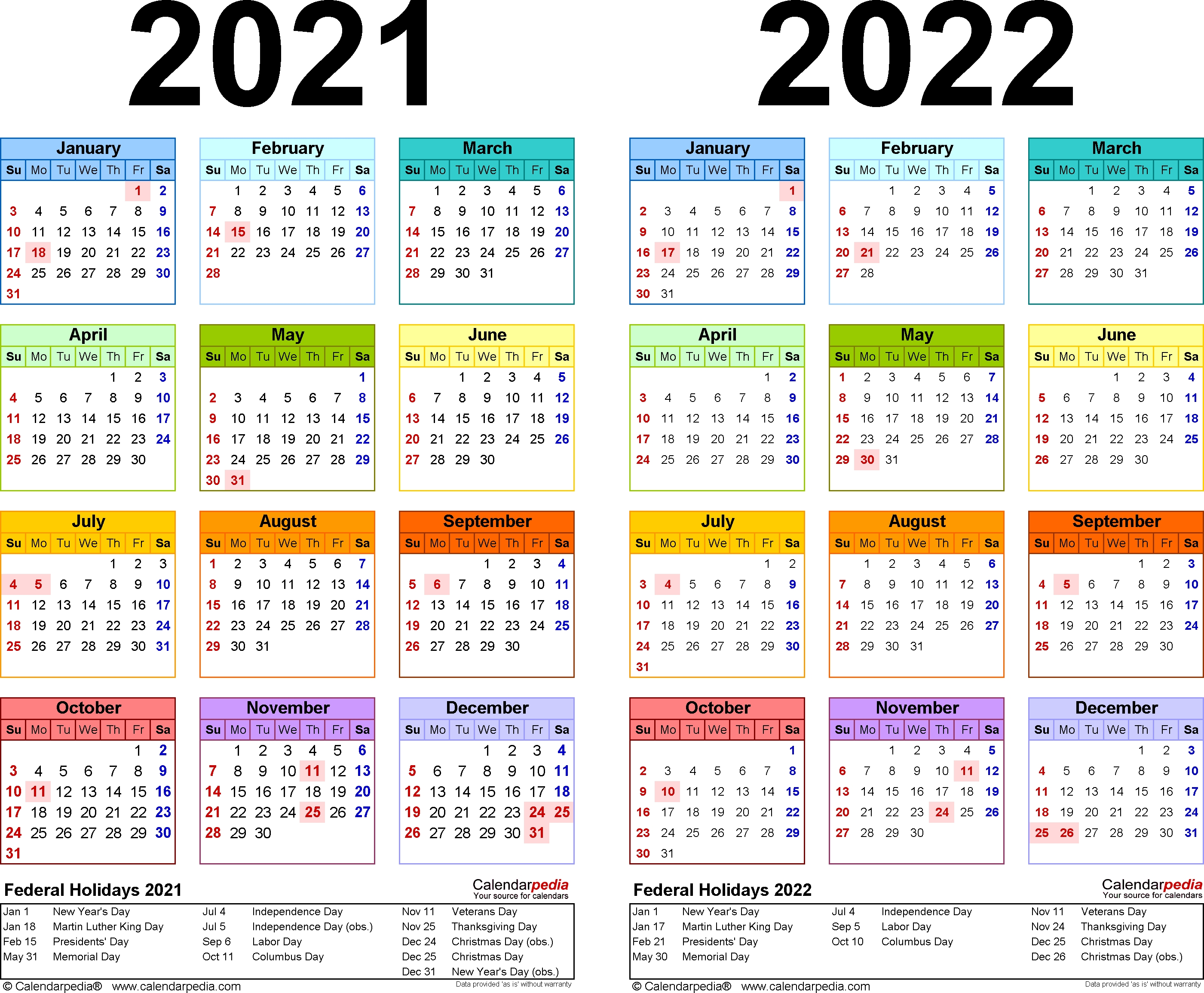 2021-2022 Two Year Calendar - Free Printable Microsoft Word regarding May Calendars For 2019 2020 2021 And 2022