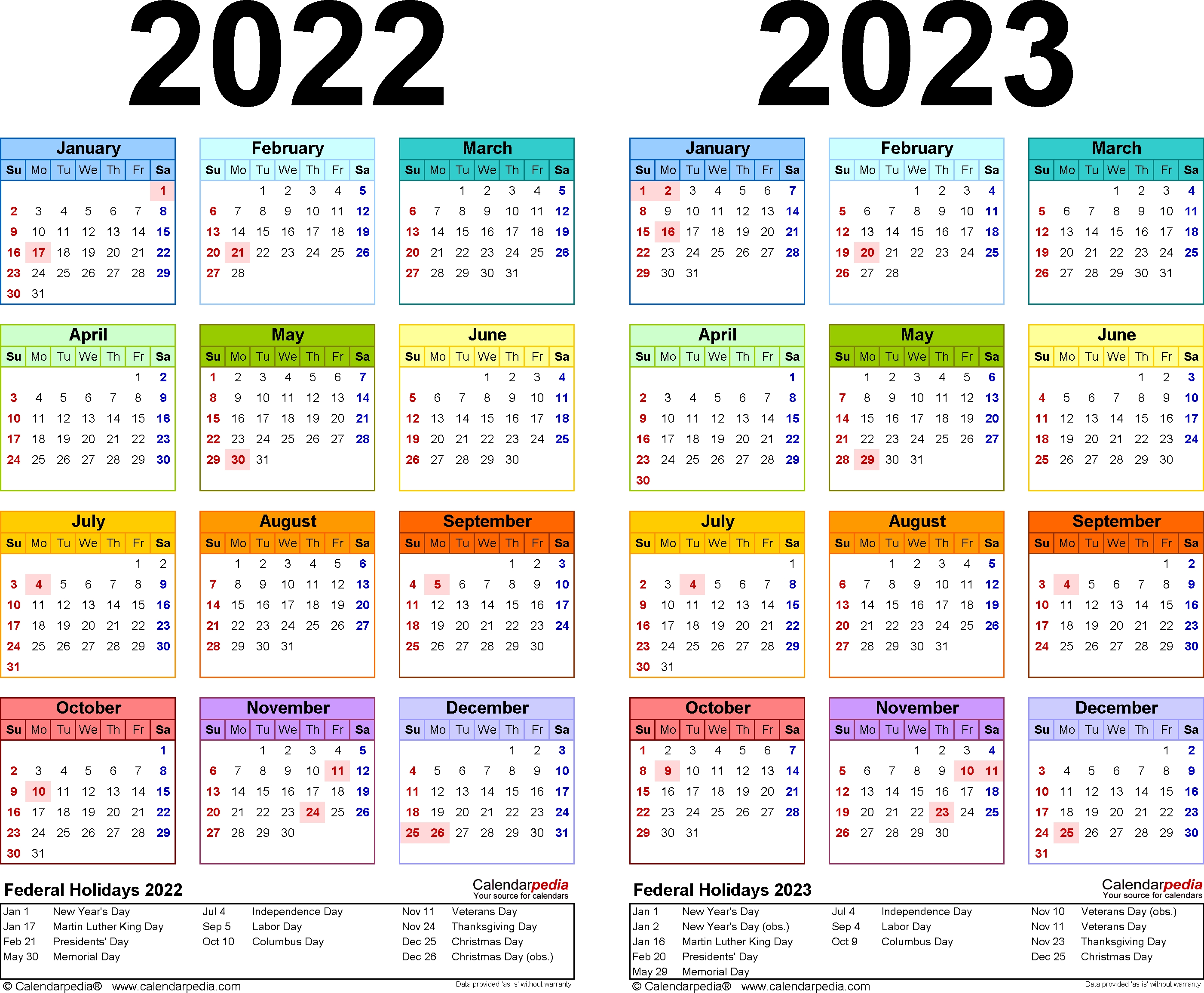 2022-2023 Two Year Calendar - Free Printable Microsoft Word within 2019 - 2023 Calendar Printable