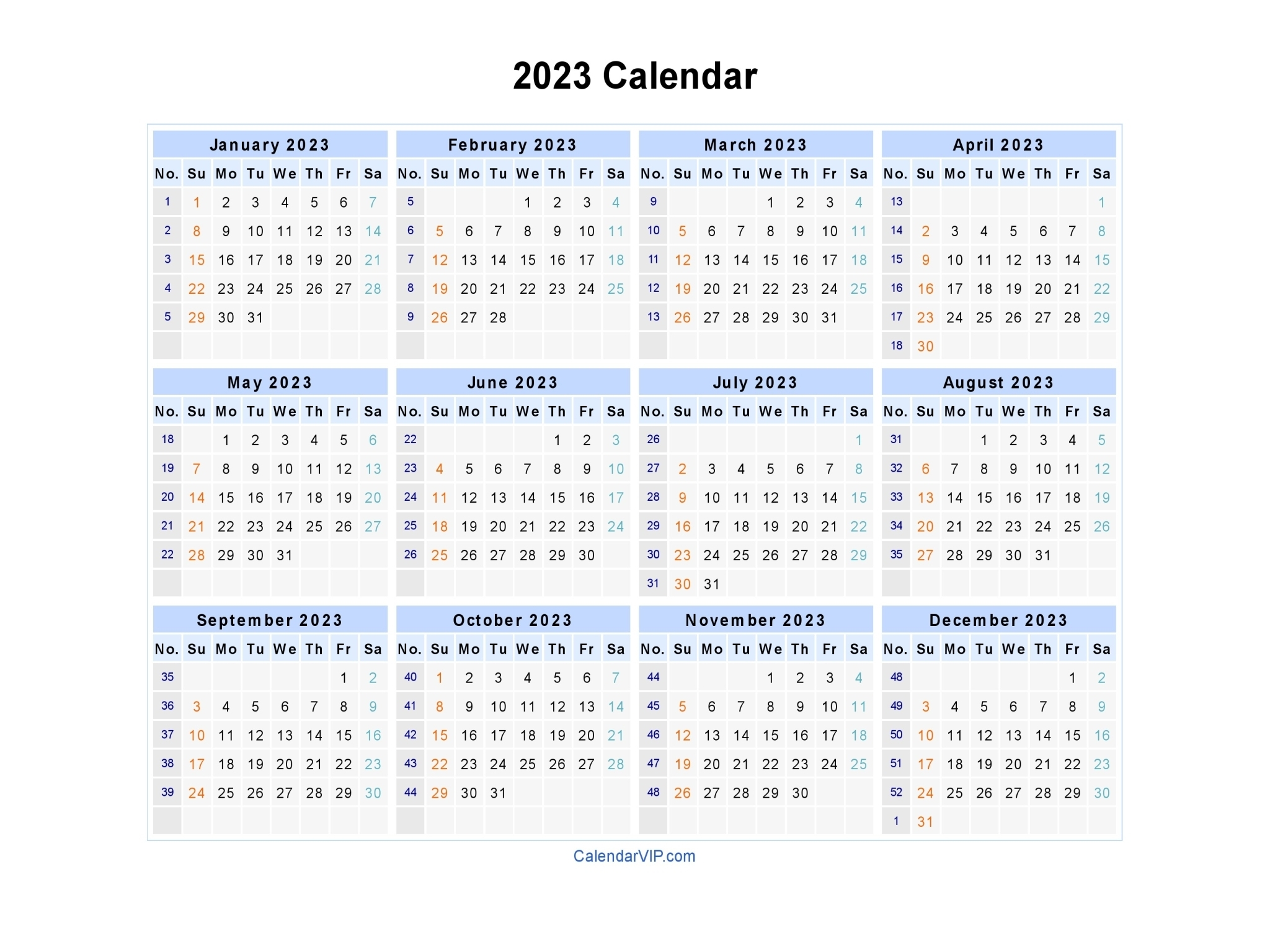 2023 Calendar - Blank Printable Calendar Template In Pdf pertaining to 1 Page Printable 2023 Calendar
