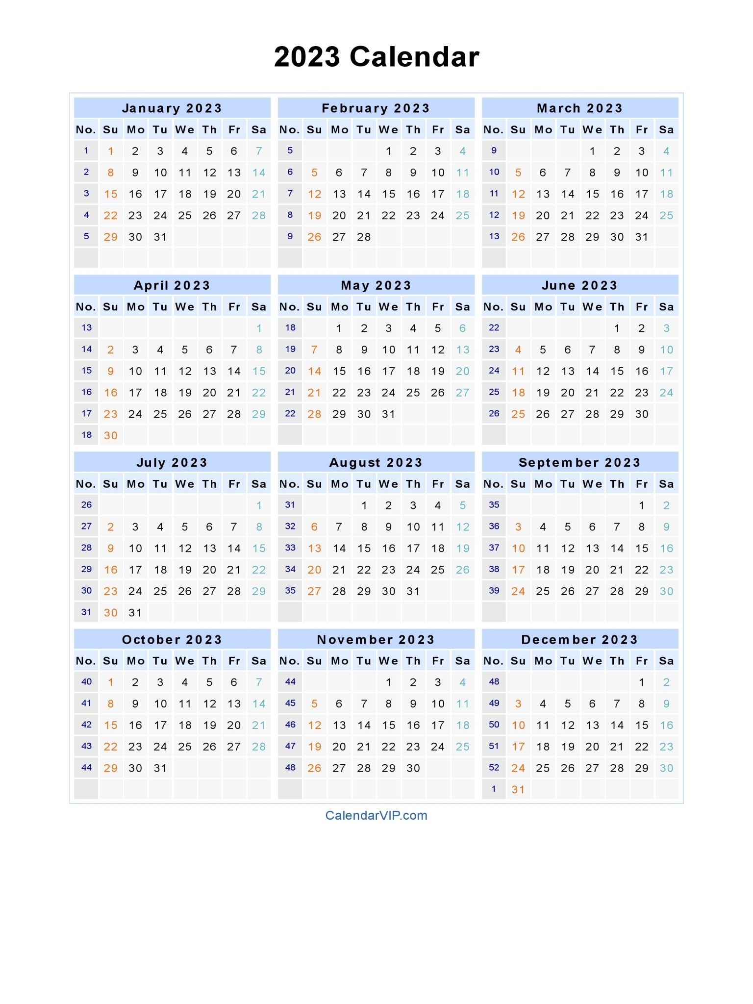 2023 Calendar - Blank Printable Calendar Template In Pdf with regard to 1 Page Printable 2023 Calendar