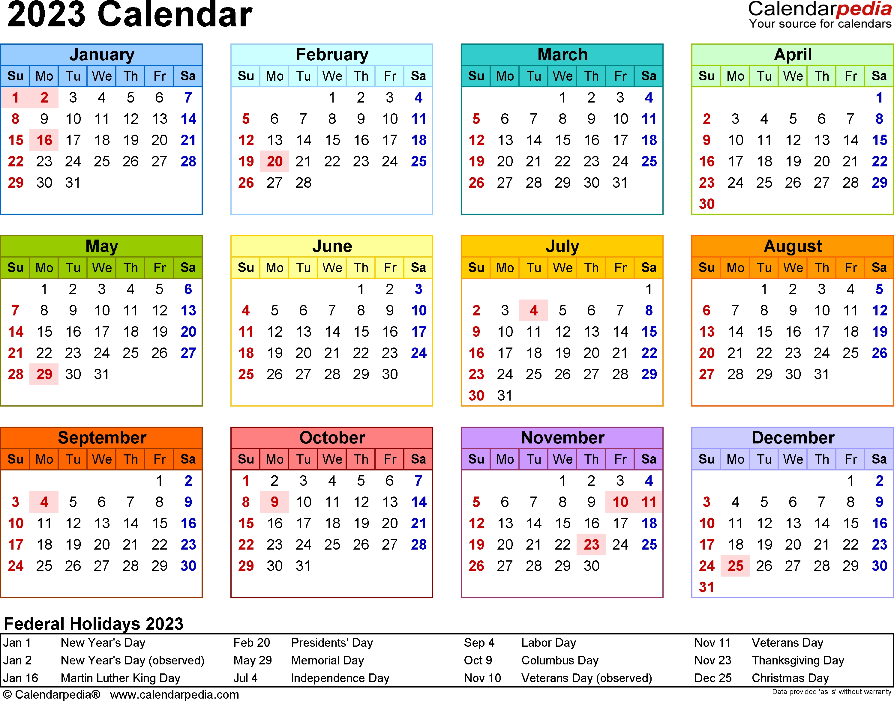 2023 Calendar - Free Printable Templates intended for 1 Page Printable 2023 Calendar