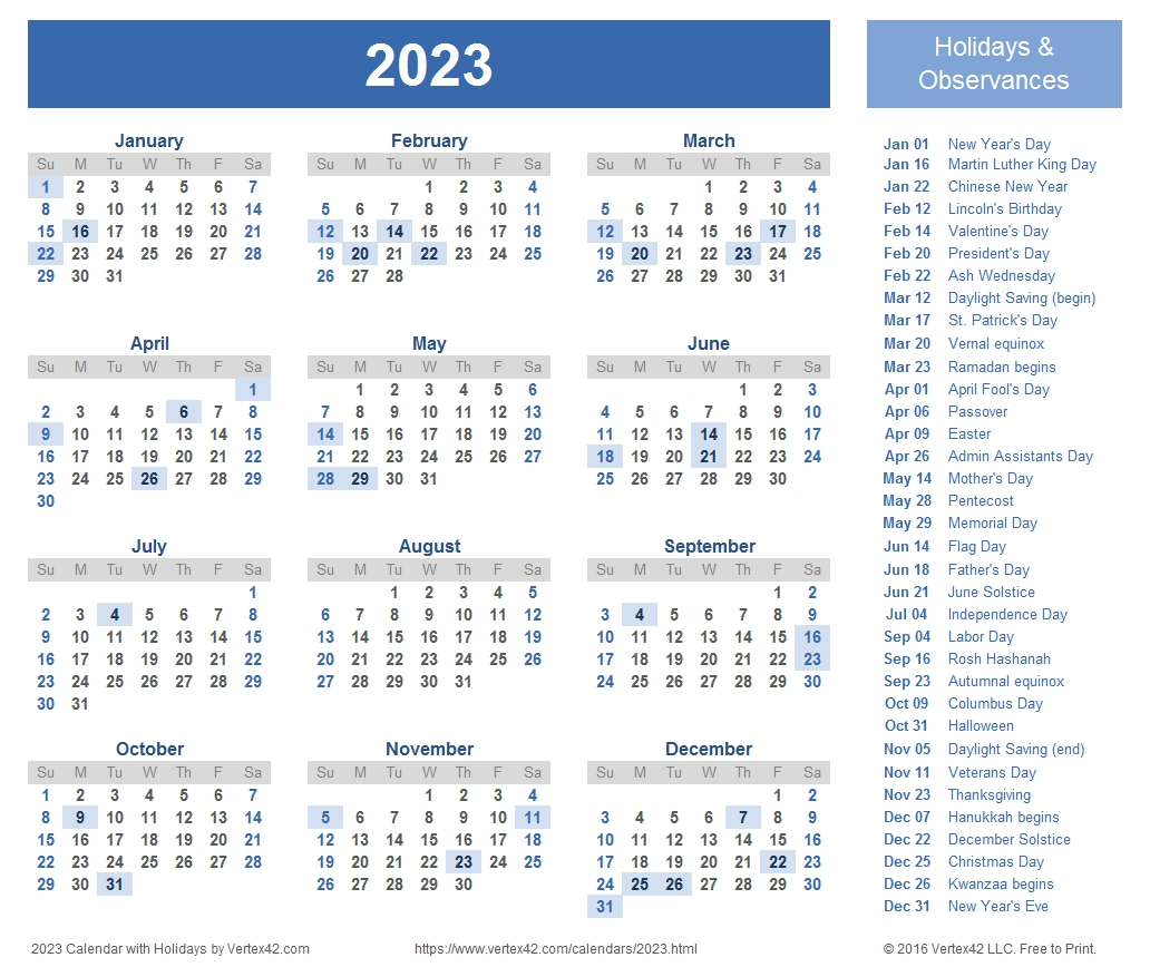 2023 Calendar Templates And Images pertaining to 1 Page Printable 2023 Calendar