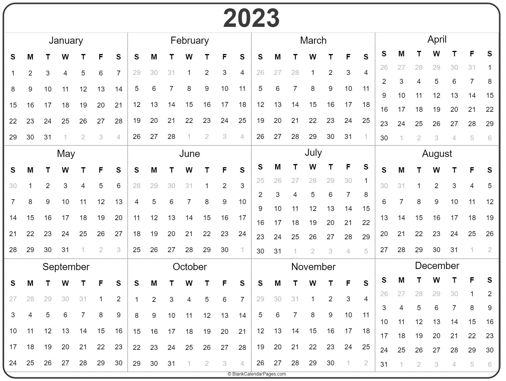 2023 Year Calendar | Yearly Printable for 1 Page Printable 2023 Calendar