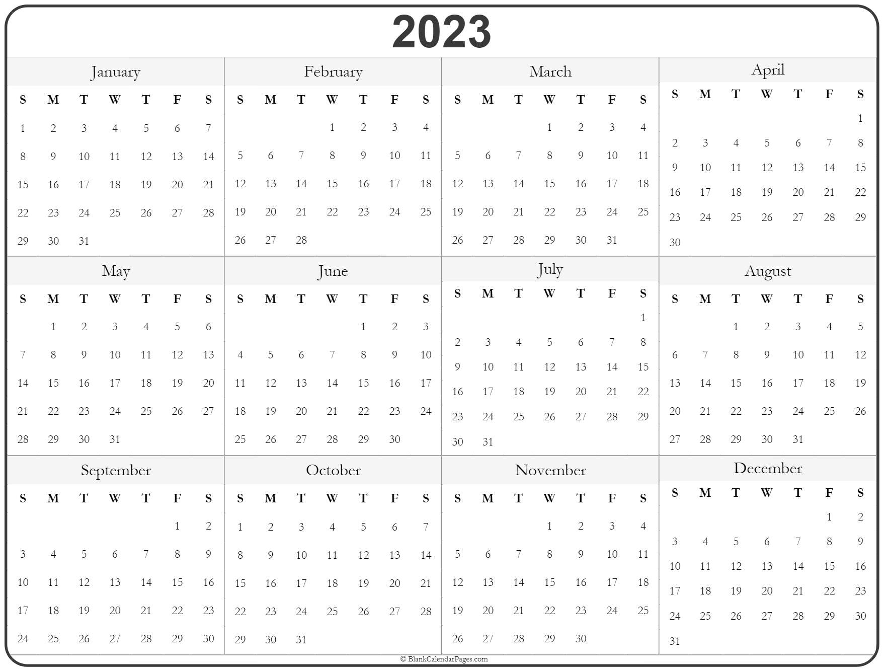 2023 Year Calendar | Yearly Printable inside 1 Page Printable 2023 Calendar