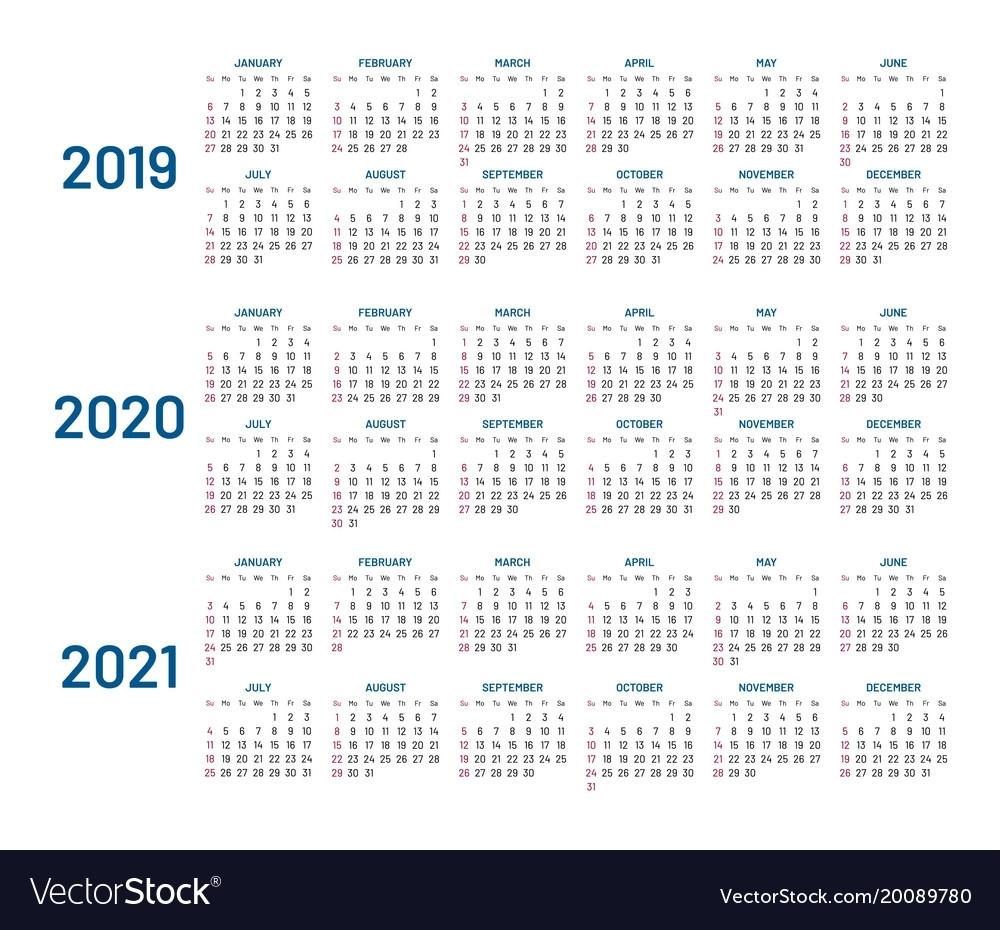 3 Year Calendar Planner - Colona.rsd7 within Three-Year Calendar 2019 2020 2021