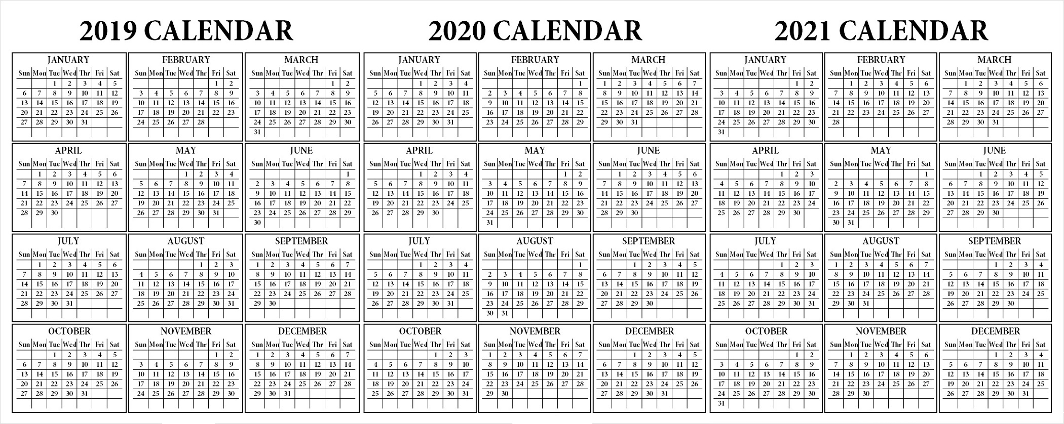 3 Year Calendar Printable 2019 2020 2021 For All Ages For for Three-Year Calendar 2019 2020 2021