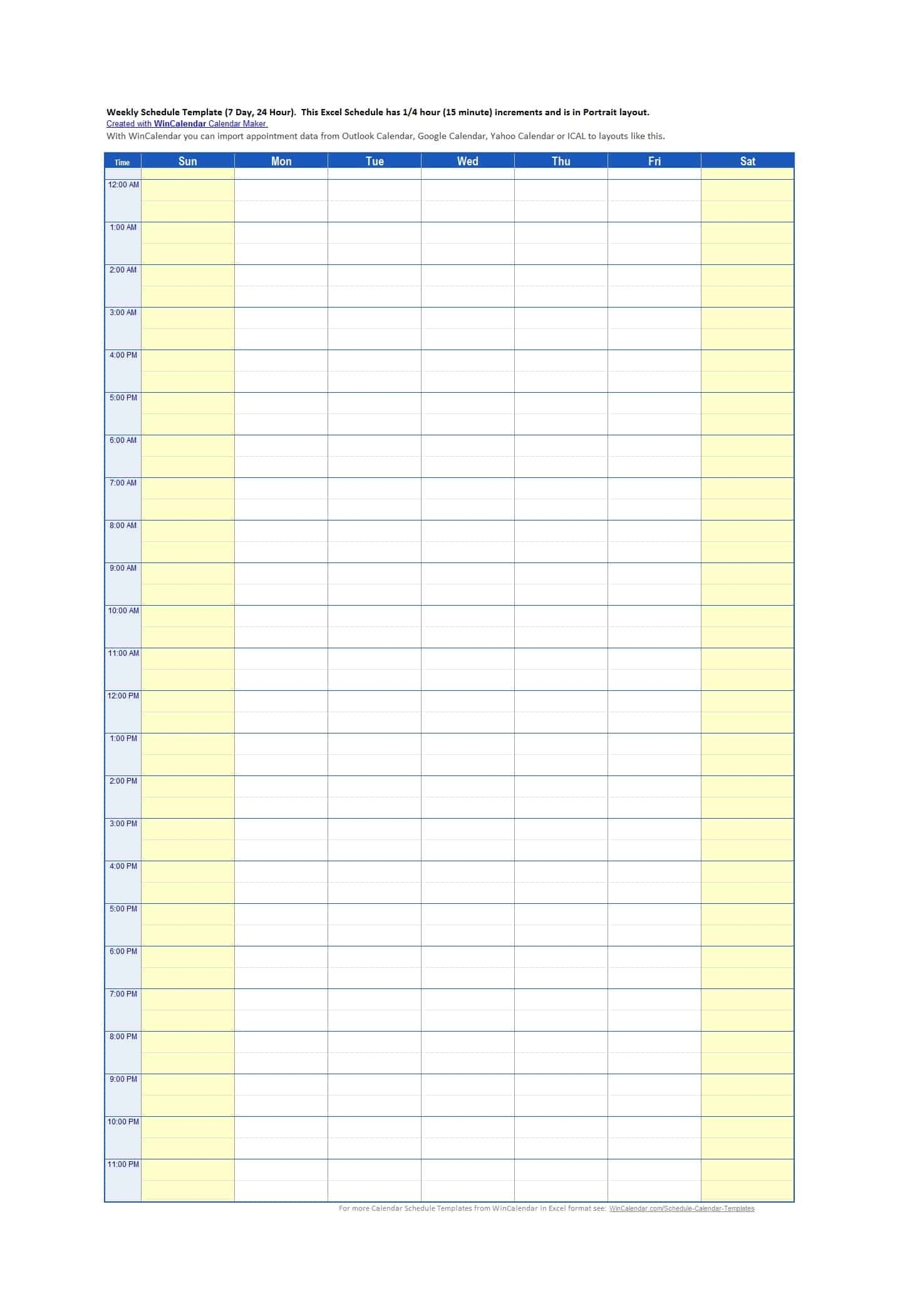 43 Effective Hourly Schedule Templates (Excel & Ms Word) ᐅ inside Time Slot Template Schedule Excel