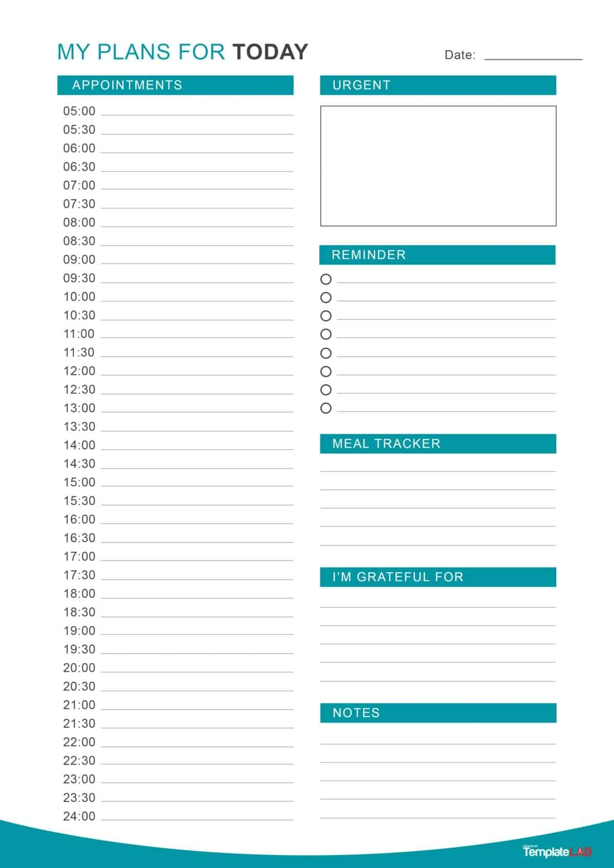 47 Printable Daily Planner Templates (Free In Word/excel/pdf) with Printable Half Hour Day Planner