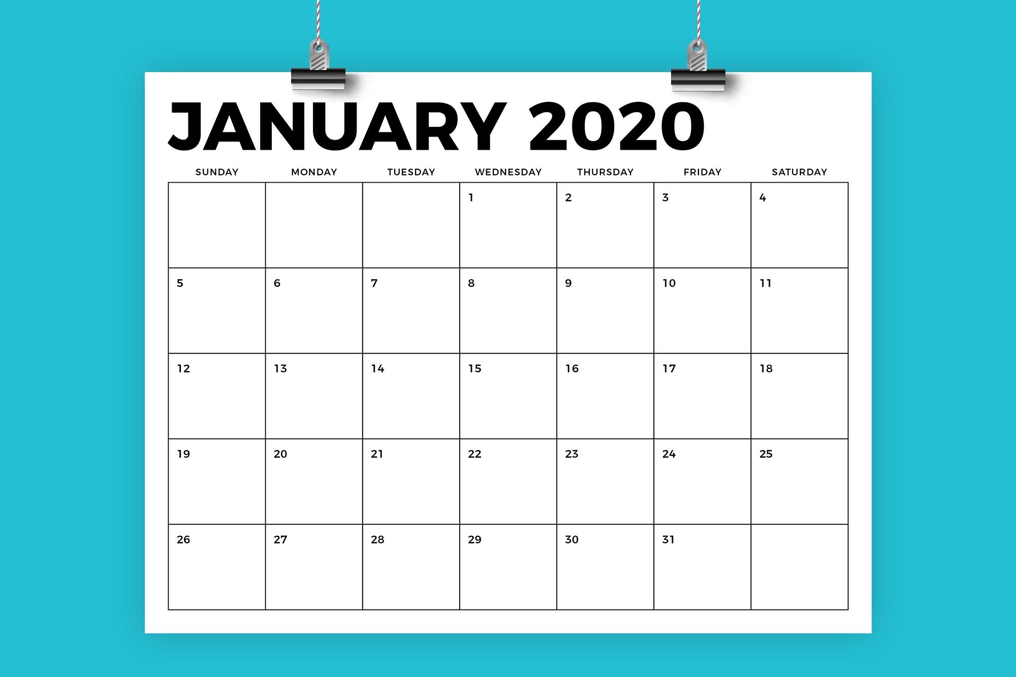 8.5 X 11 Inch Bold 2020 Calendar regarding 8.5 X 11 Calendar Template