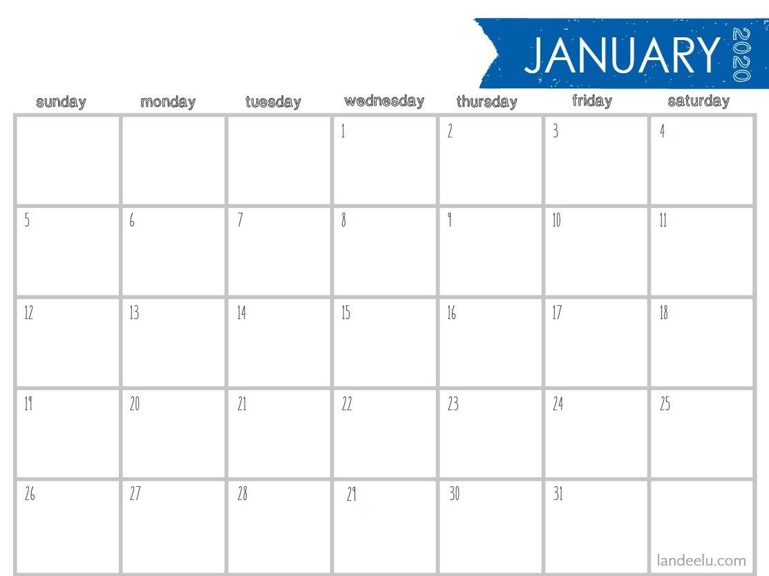 8 Stylish Free, Printable Calendars For 2020 regarding 8.5 X 11 Printable 2020 Calendar At A Glance