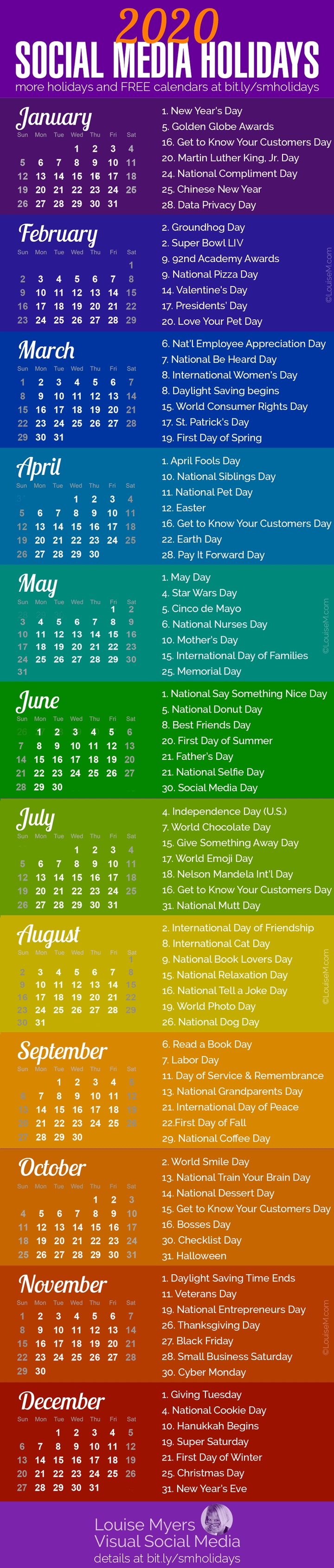 84 Social Media Holidays You Need In 2020: Indispensable! within National Day Calendar 2020 Printable List