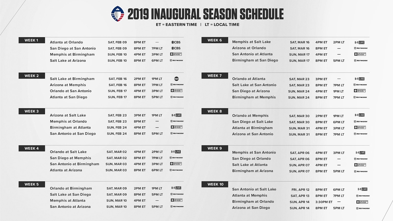Aaf Football: 2019 Season Schedule For Alliance Of American with Printable Nfl Schedule For 2019 2020