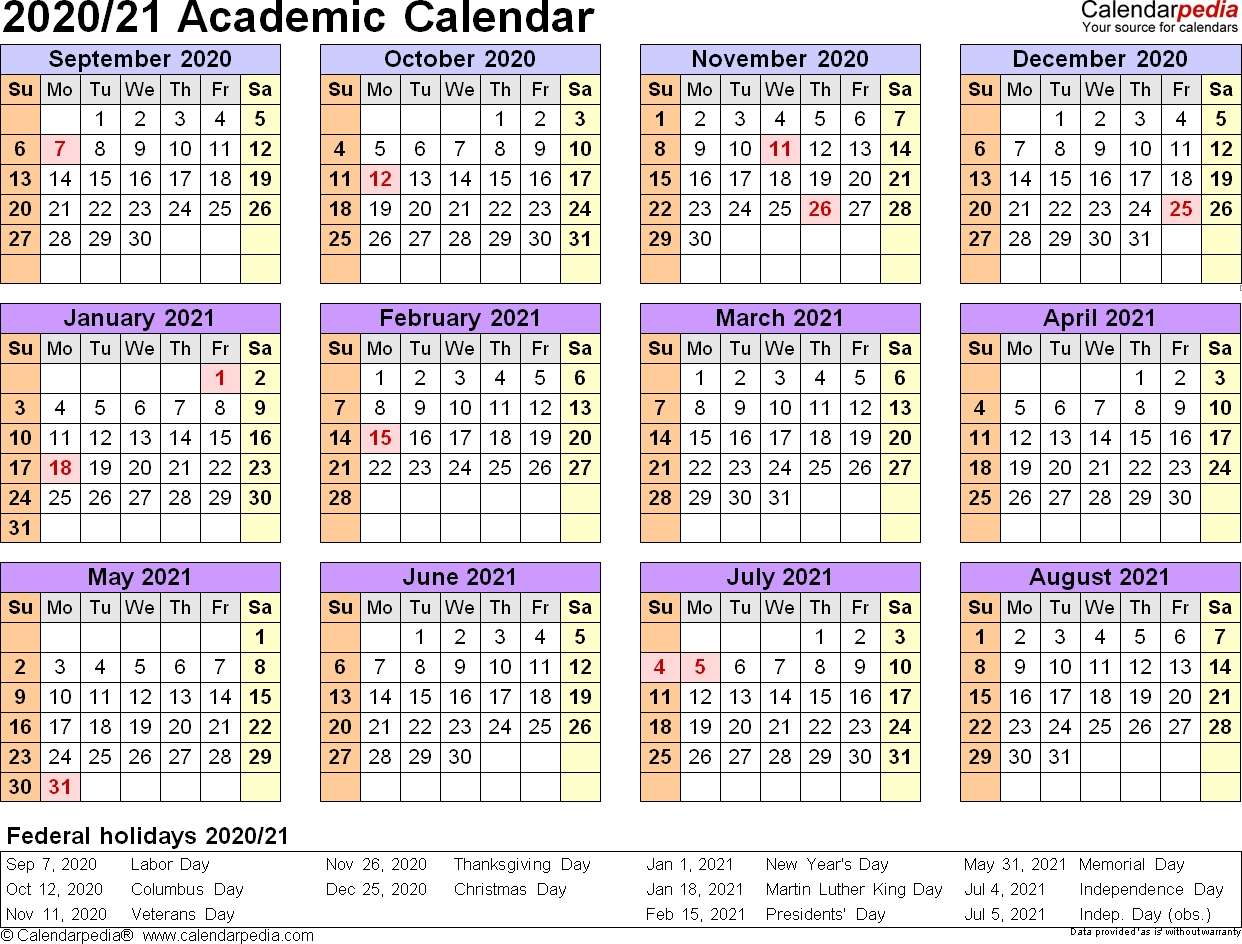 Academic Calendars 2020/2021 - Free Printable Word Templates intended for Free Word 2020 Calendar Year At A Glance