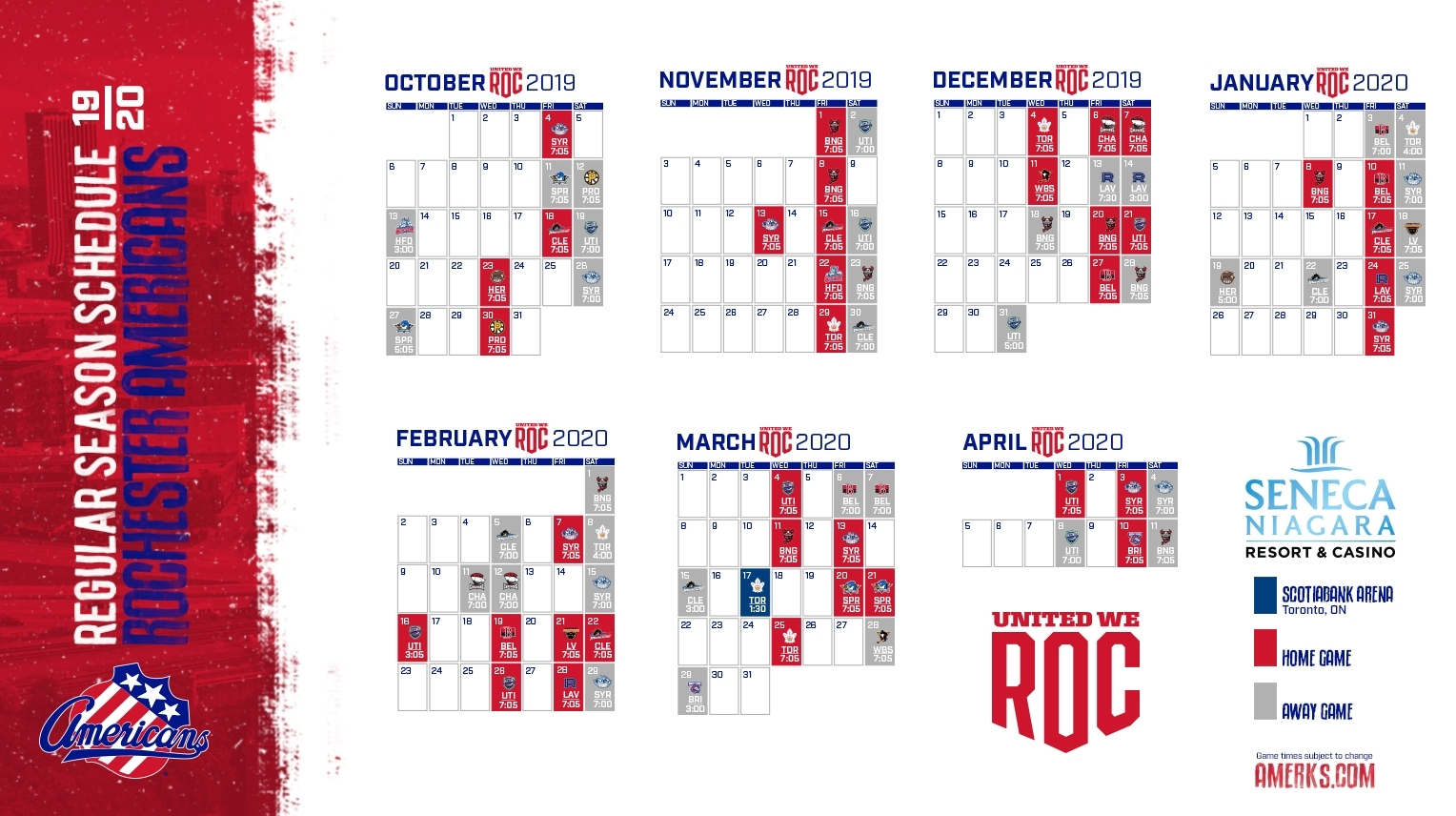 Amerks Announce 2019-20 Regular Season Schedule with Nashille Predators 2019-2020 Calendar Printable