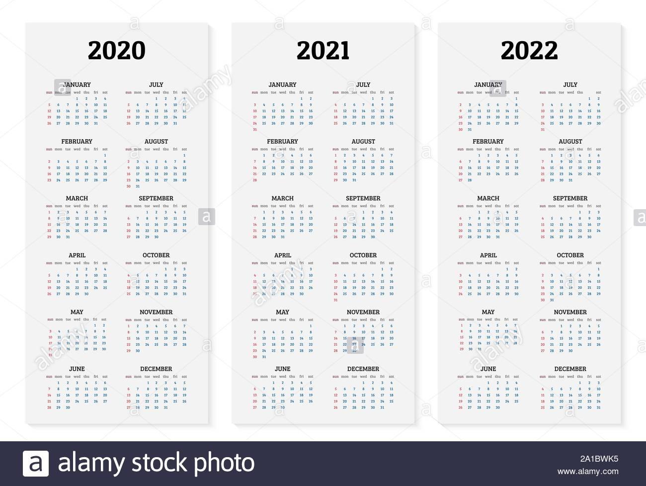 Annual Calendar 2020, 2021 And 2022 Template. Vector in Calendar Years 2019 2020 2021 2022 2023