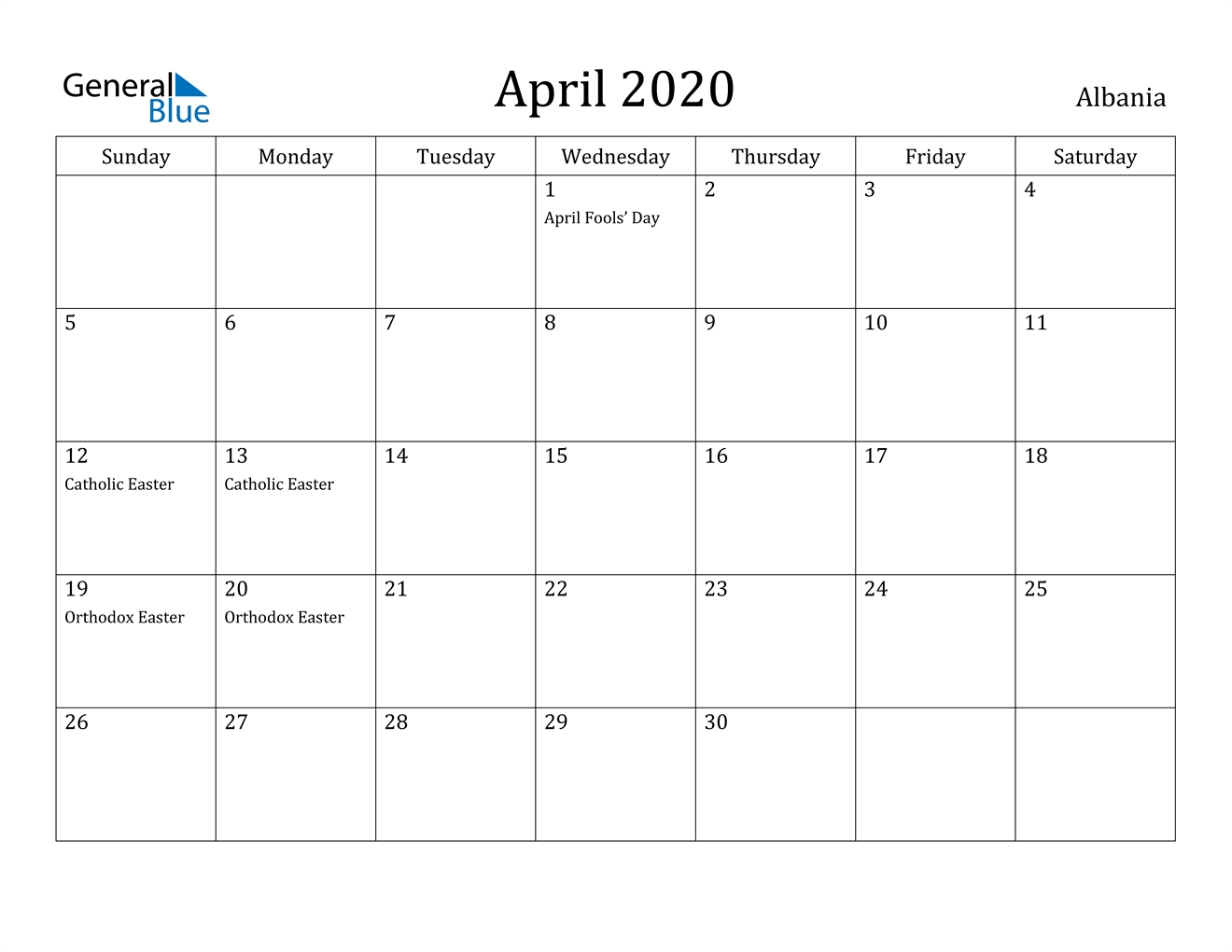 April 2020 Calendar - Albania inside Free Weekly Catholic Calendar 2020