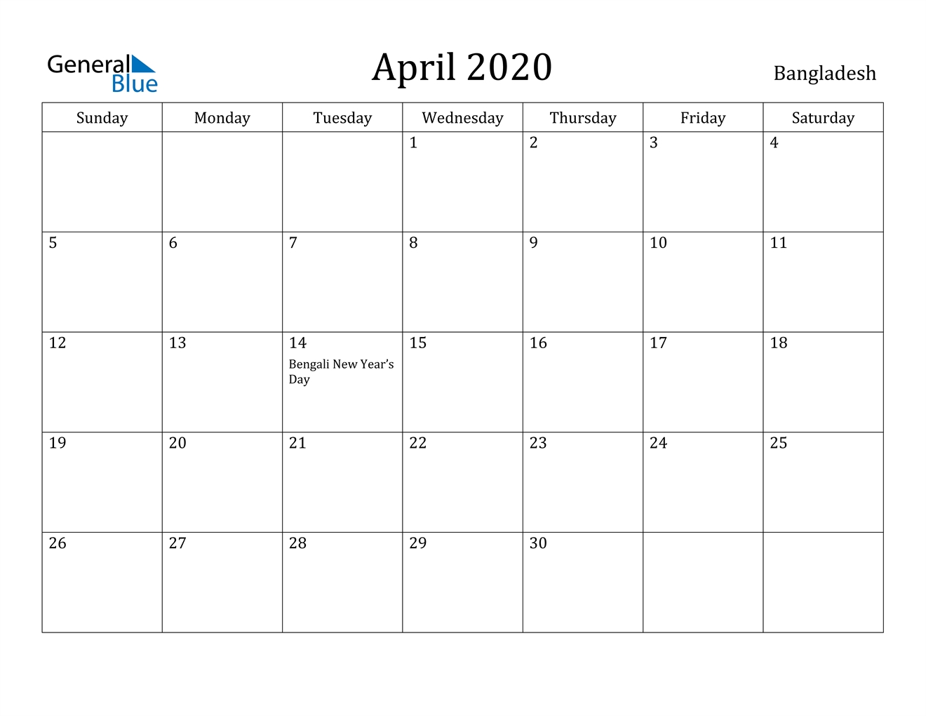 April 2020 Calendar - Bangladesh regarding 2020 Year Calendar Printable Free Bangla