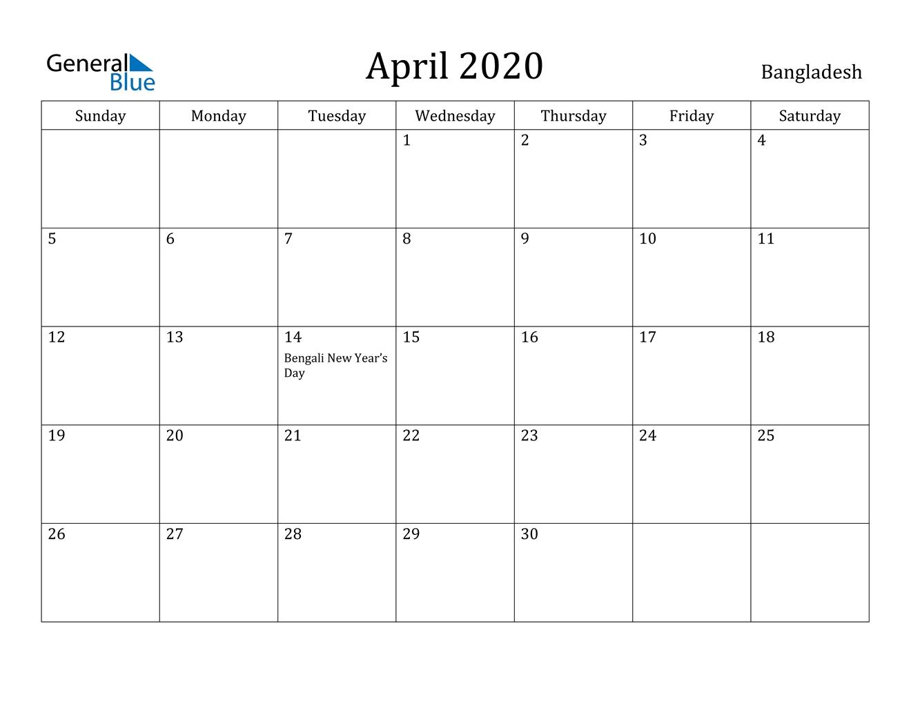 April 2020 Calendar - Bangladesh regarding 2020 Year Calendar Printable Free Bangla