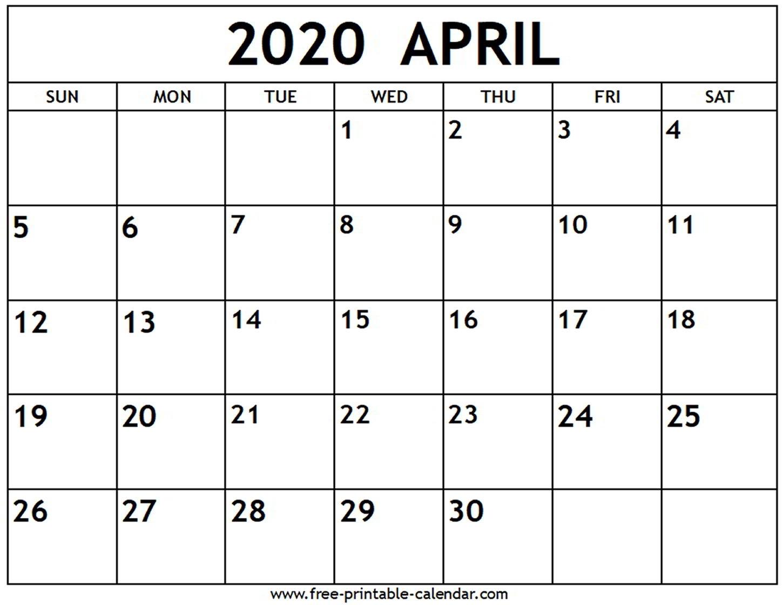 April 2020 Calendar - Free-Printable-Calendar within 2020 Printable Fill In Calendar