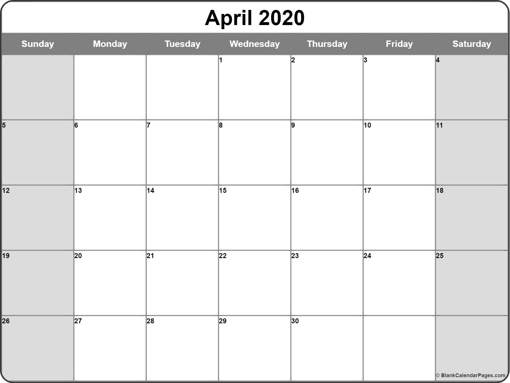 April 2020 Calendar | Free Printable Monthly Calendars in Printable Calendar 2020 Monthly With Holidays