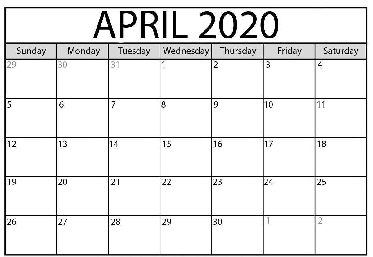 April Calendar 2020 | January Calendar, Printable Calendar for 2020 12 Month Monday To Sunday Calendar Template