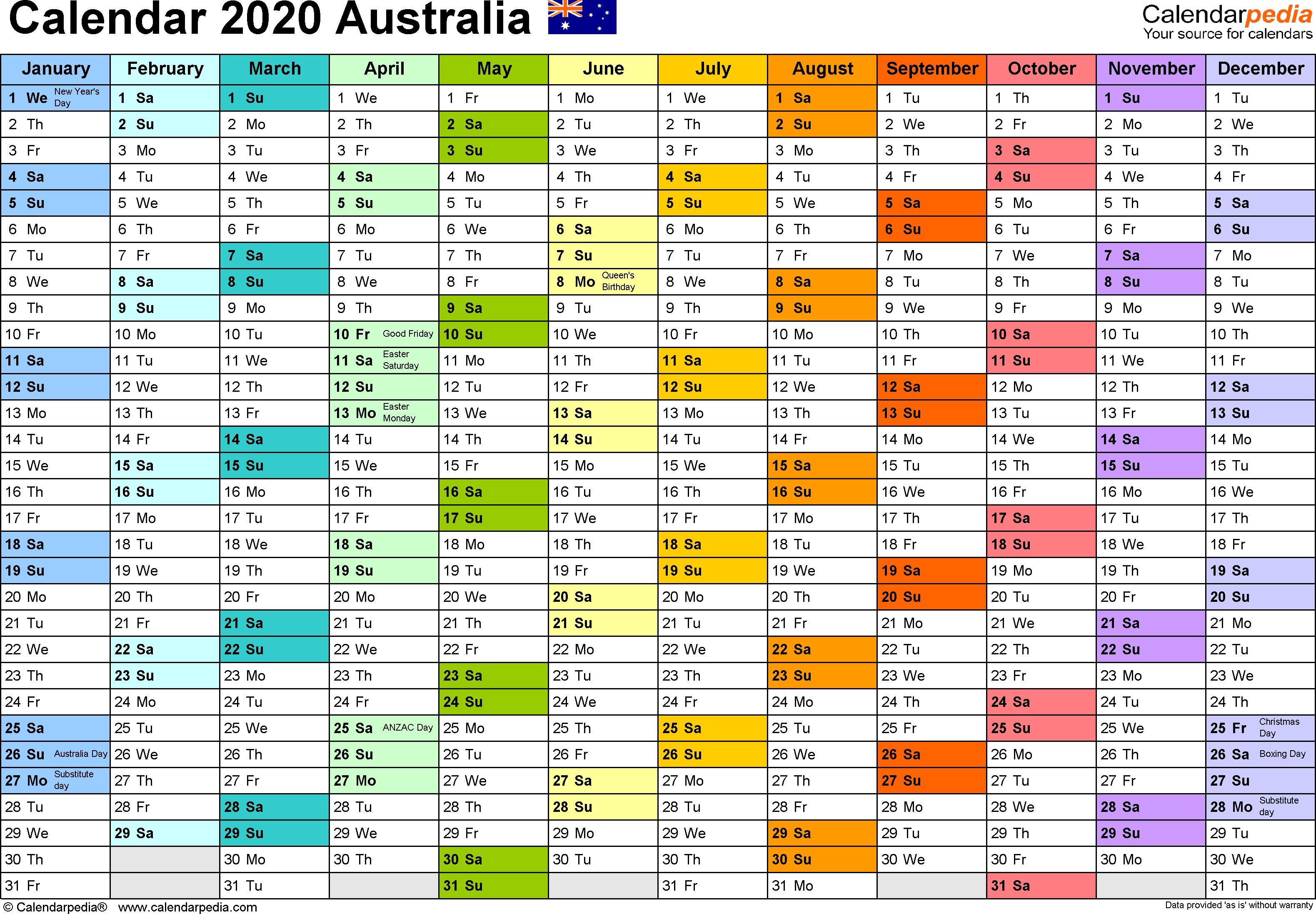 Australia Calendar 2020 - Free Printable Pdf Templates for Financial Calendar 2019- 2020 Printable.au