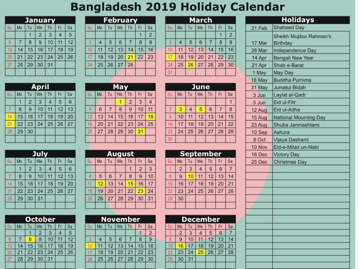 Bangladesh Government Calendar 2019 | Holiday Calendar intended for National Day Calendar 2020 Printable List