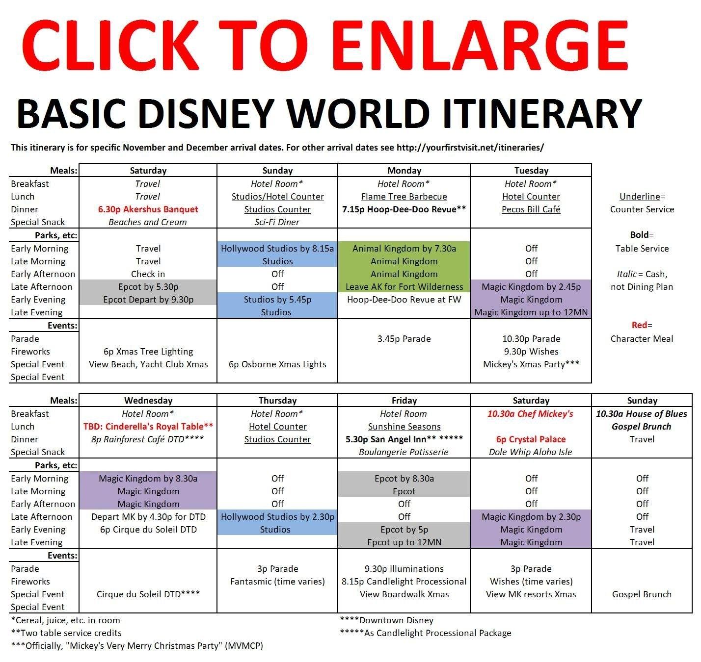 Basic 2019 December Disney World Itinerary | Disney Vacation with Disney World Itinerary Template Download 2020