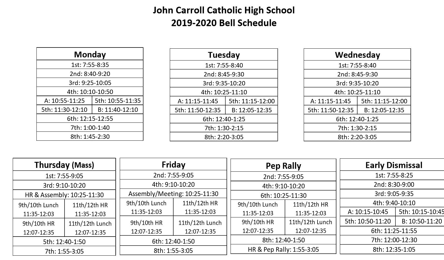 Bell Schedule & Summary Calendar – Students – John Carroll for Catholic Extension Calendar 2020 Pdf