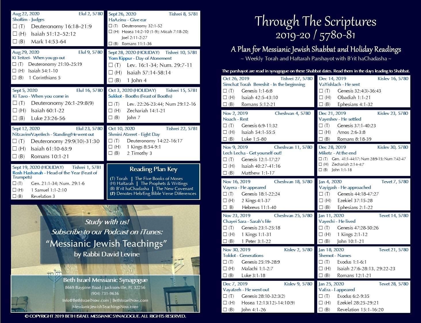 Bible Reading Plan | Bethisraelnow throughout Torah Portion Fo R August 82020