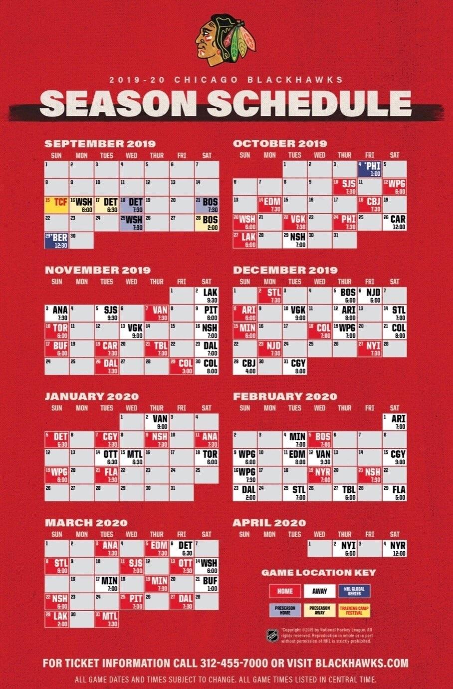 Blackhawks Release 2019-20 Schedule   Committed Indians inside Nashville Predators Schedule 2019 20 Printable