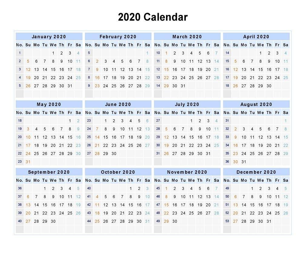 Blank 2020 12 Months Calendar | Monthly Calendar Template for 2020 Calendar With Week Numbers Printable