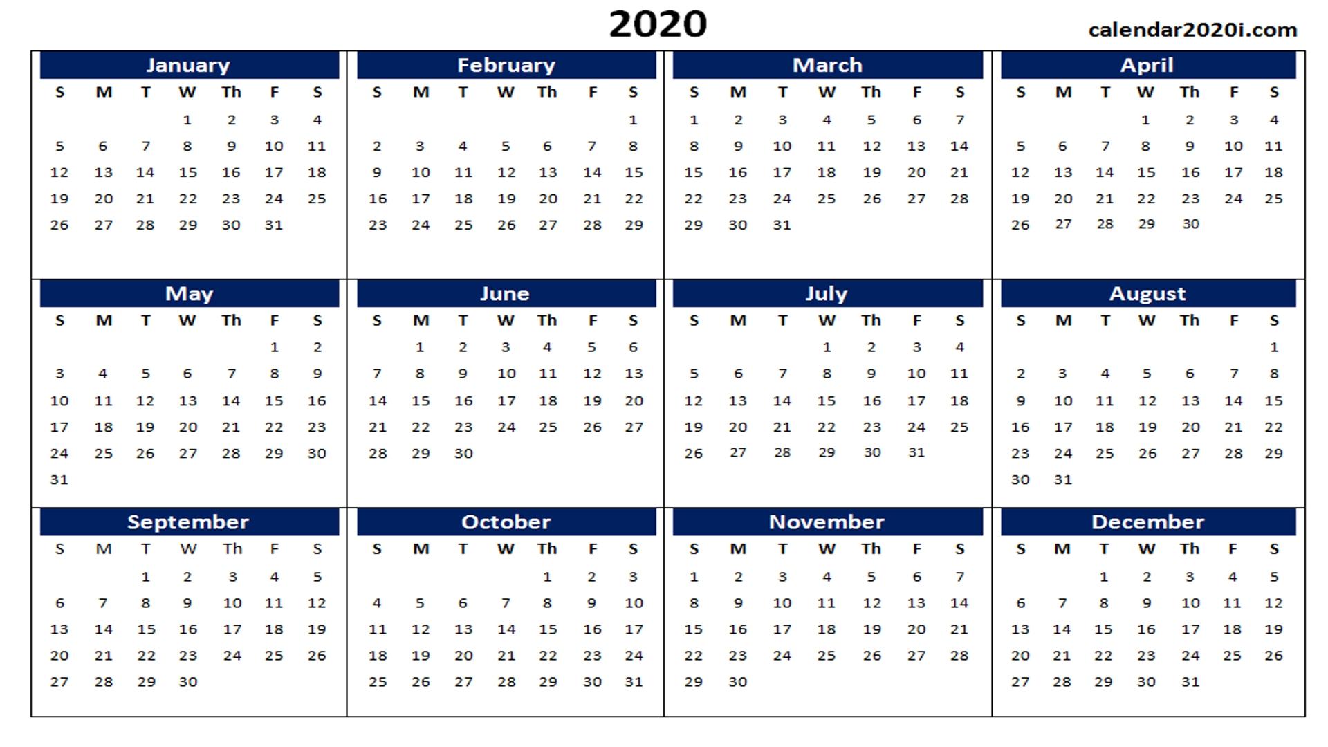 Blank 2020 Calendar Printable Templates | Calendar 2020 for Excel Formula For Calendar Year 2020