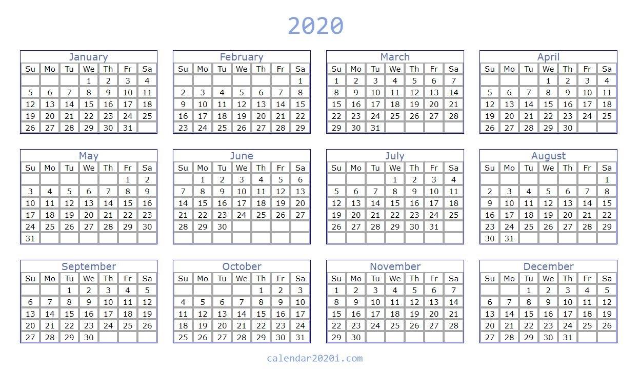 Blank 2020 Calendar Printable Templates | Calendar 2020 in Blank Fill In Calendar 2020
