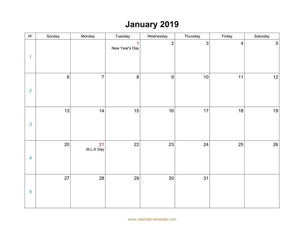 Blank Calendar 2019 for Calendar 2019 Monday To Sunday
