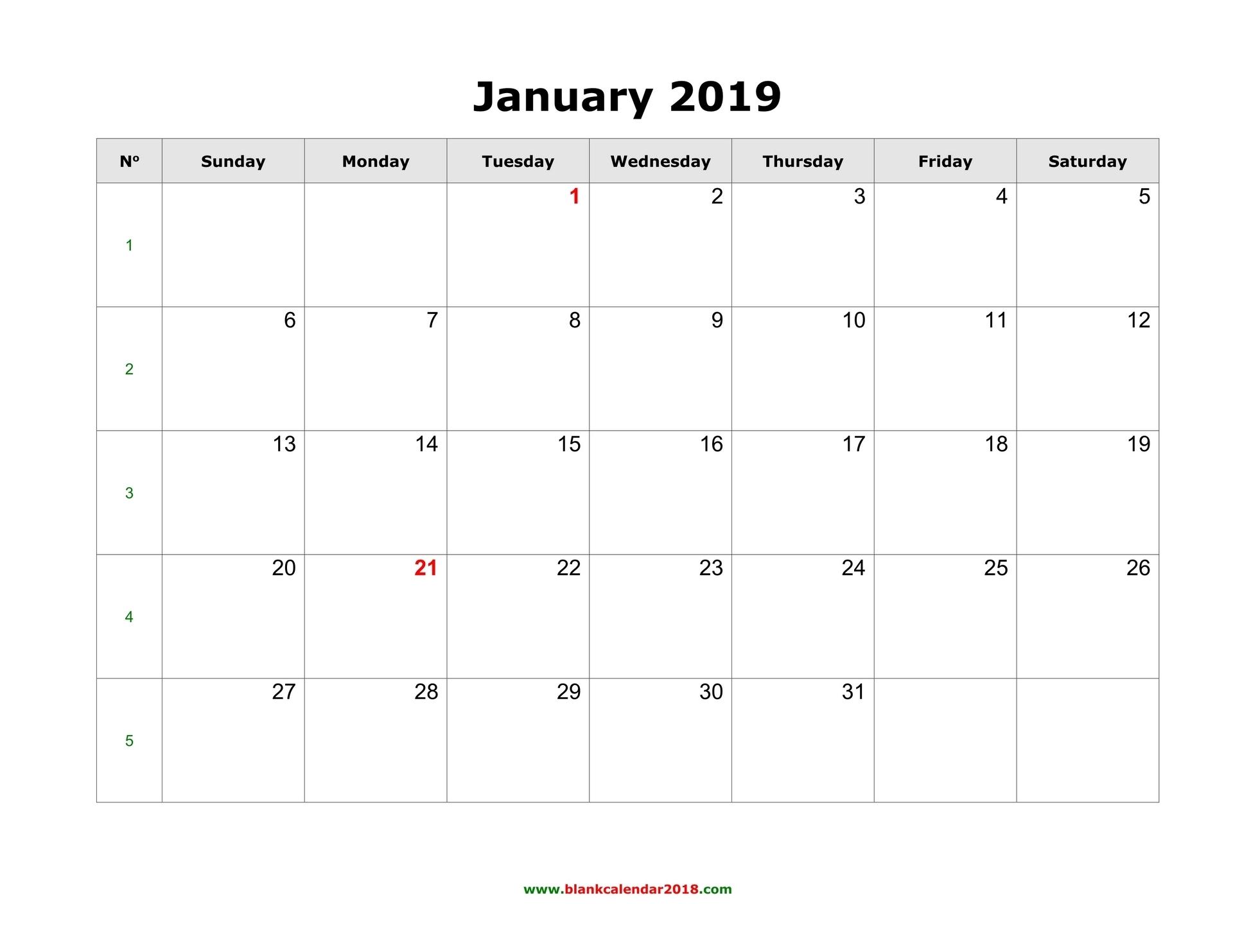 Blank Calendar 2019 intended for Printable Fill In Calendar 2019